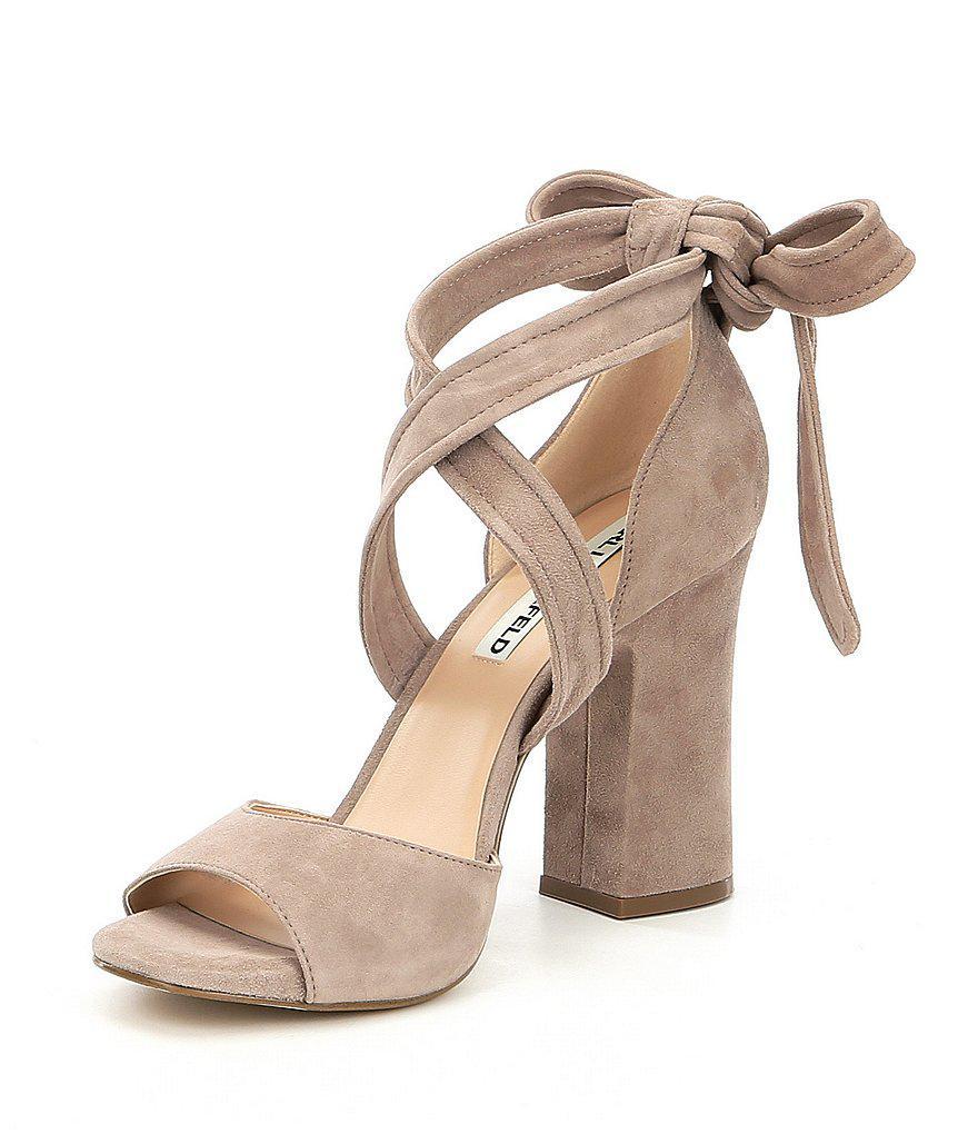 ff907bef22c7 Lyst - Karl Lagerfeld Racha Suede Ankle Tie Block Heel Dress Sandals ...