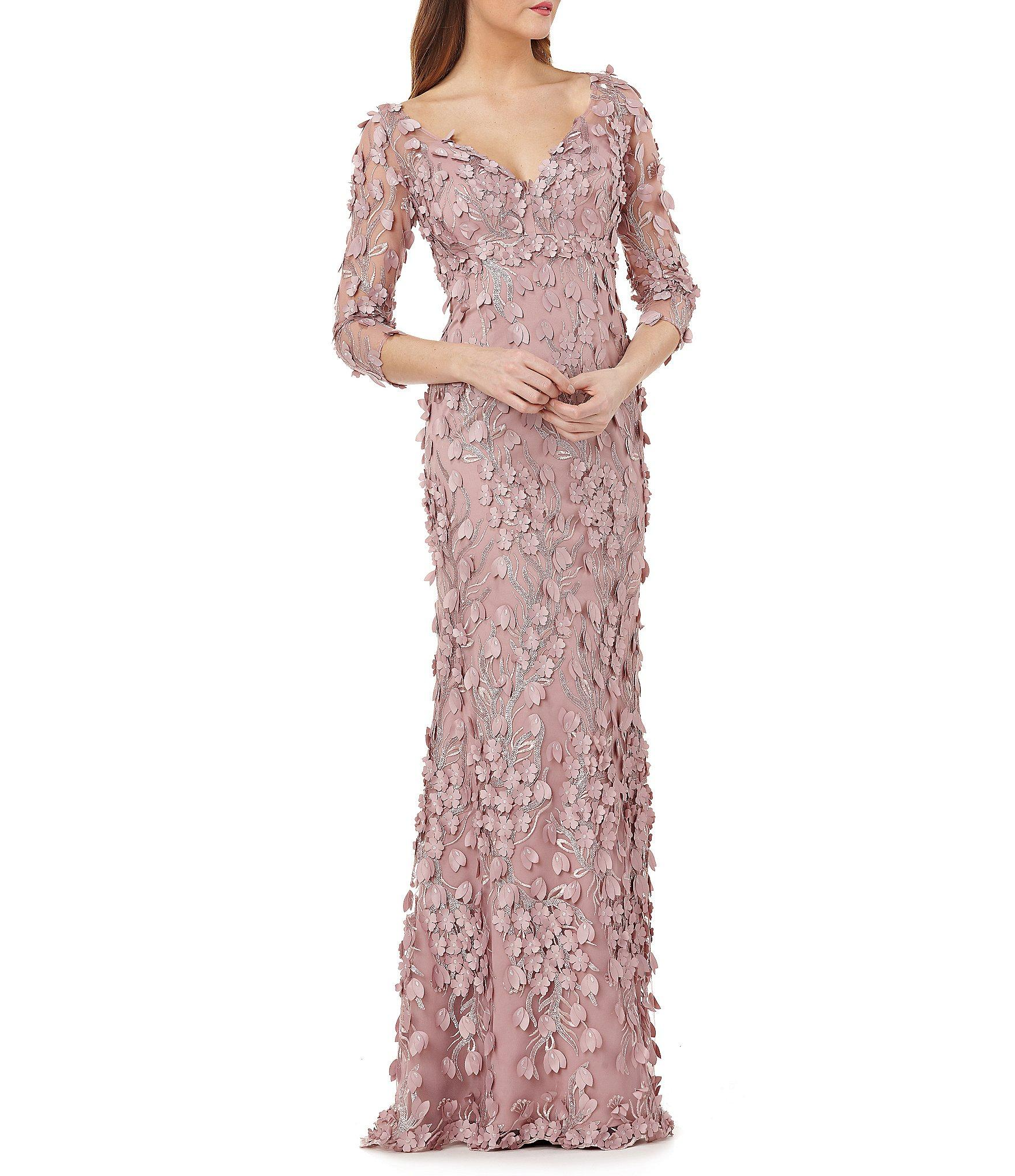 0e226d8f138 Carmen Marc Valvo Infusion V-neck Fleurette Gown in Pink - Save 60 ...