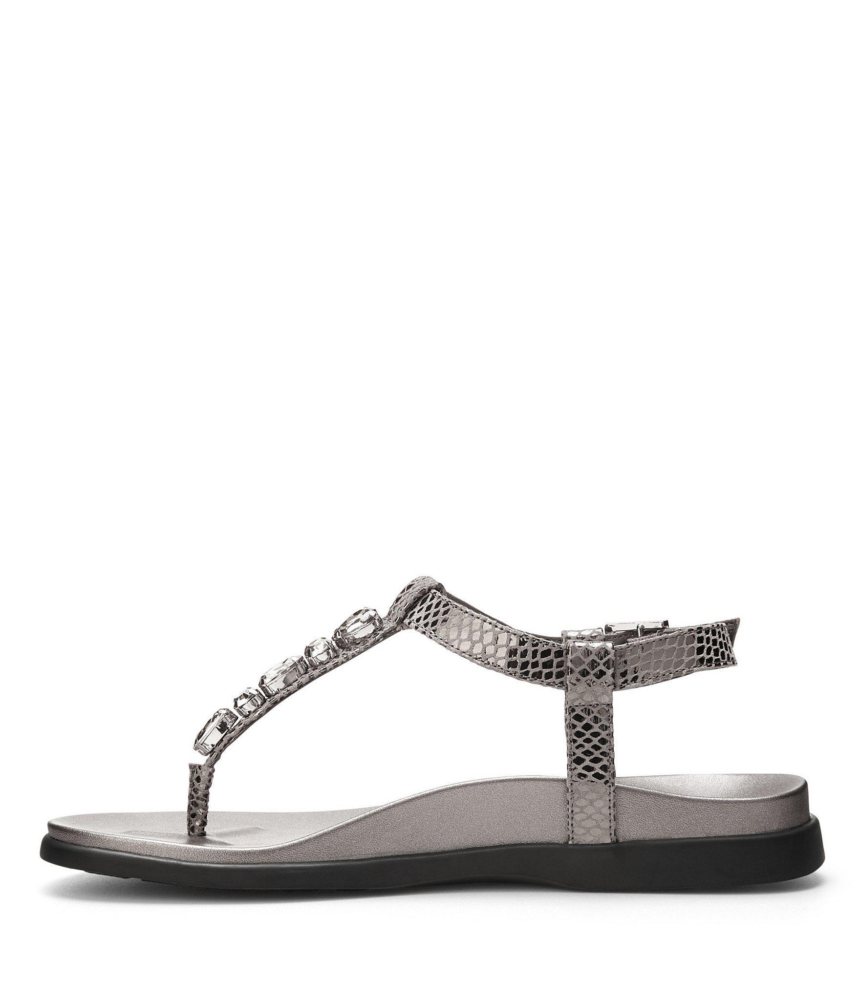 1fa998b91197 Lyst - Vionic Boca Snake Print Gemstone Studded Thong Sandals