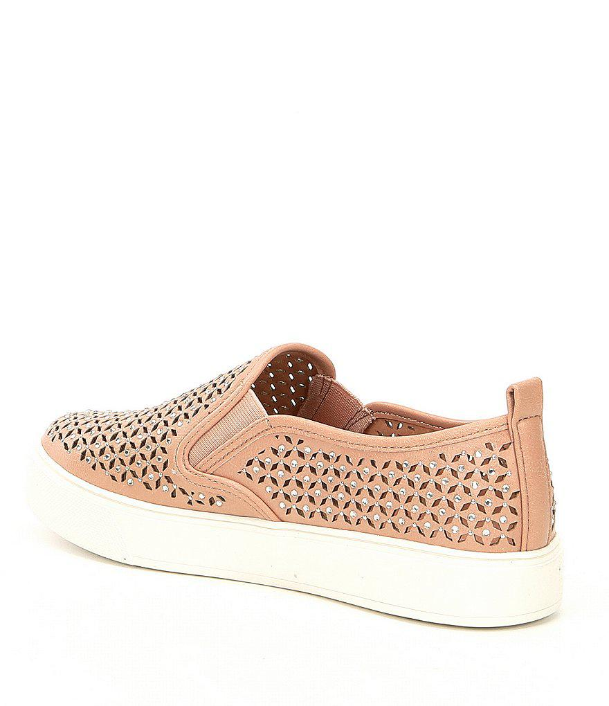 Aldo Cardabello Laser Perforated Rhinestone Jeweled Slip On Sneakers p6xENP