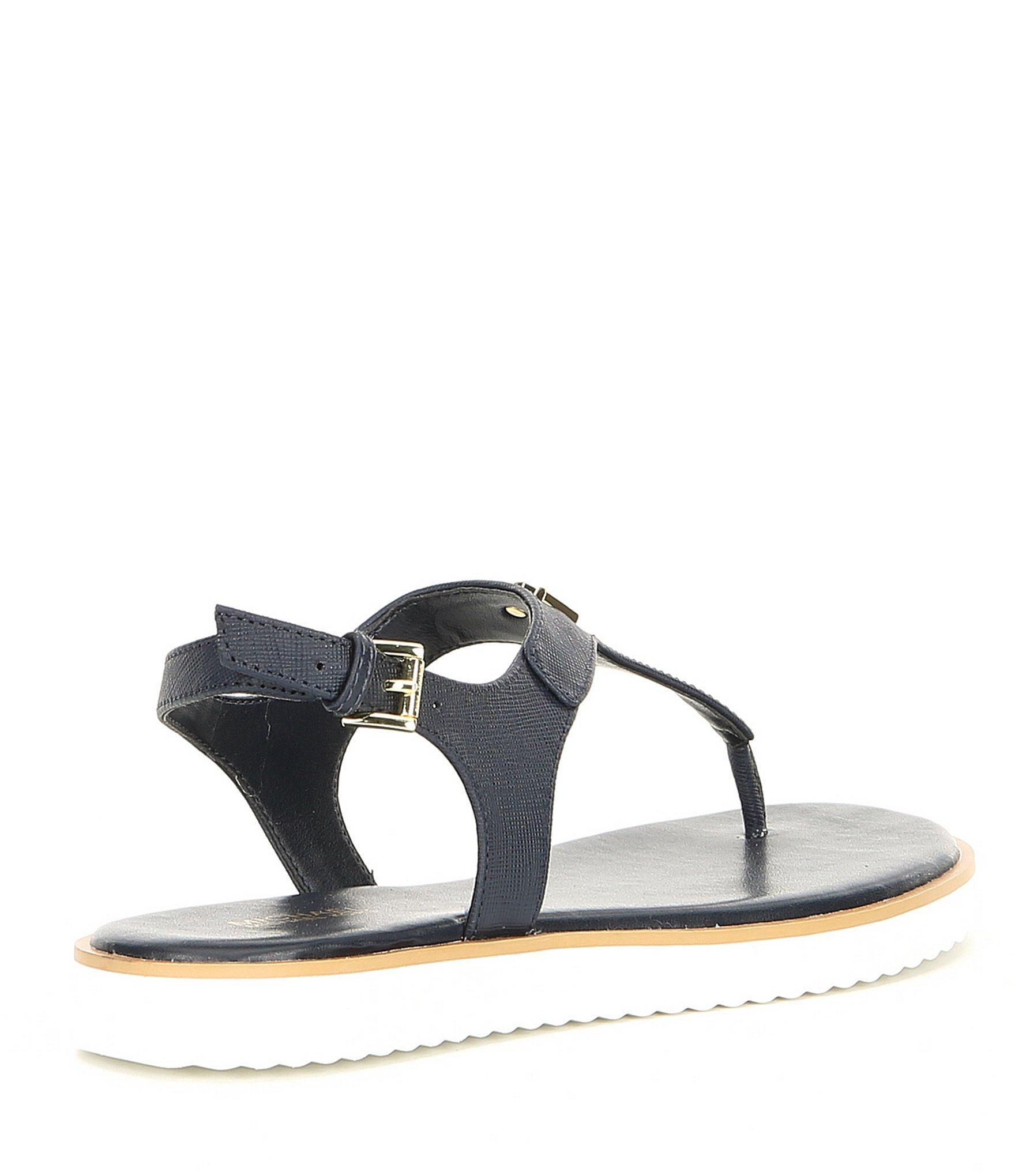 3c85a5db5f8 MICHAEL Michael Kors - Blue Brady Saffiano Leather Thong Sandals - Lyst.  View fullscreen
