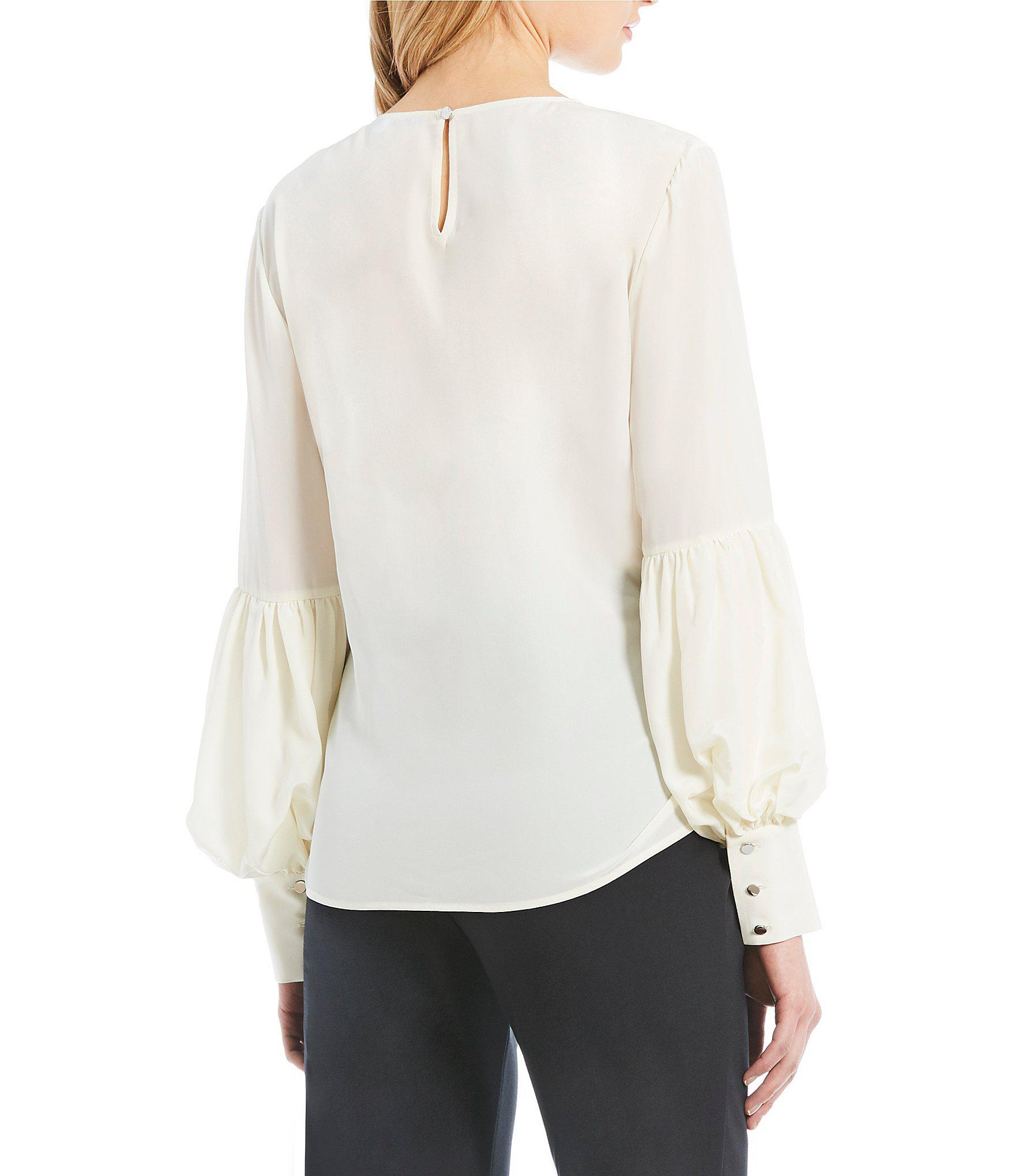 f616cafaf2d6a6 Lyst - Antonio Melani Pam Bishop Sleeve Silk Blouse in White