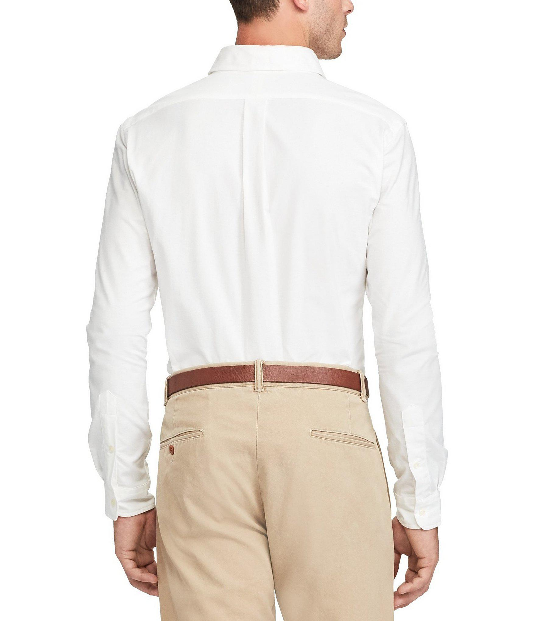 ebfe2765 Polo Ralph Lauren - Blue Slim-fit Solid Stretch Oxford Long-sleeve Woven  Shirt. View fullscreen
