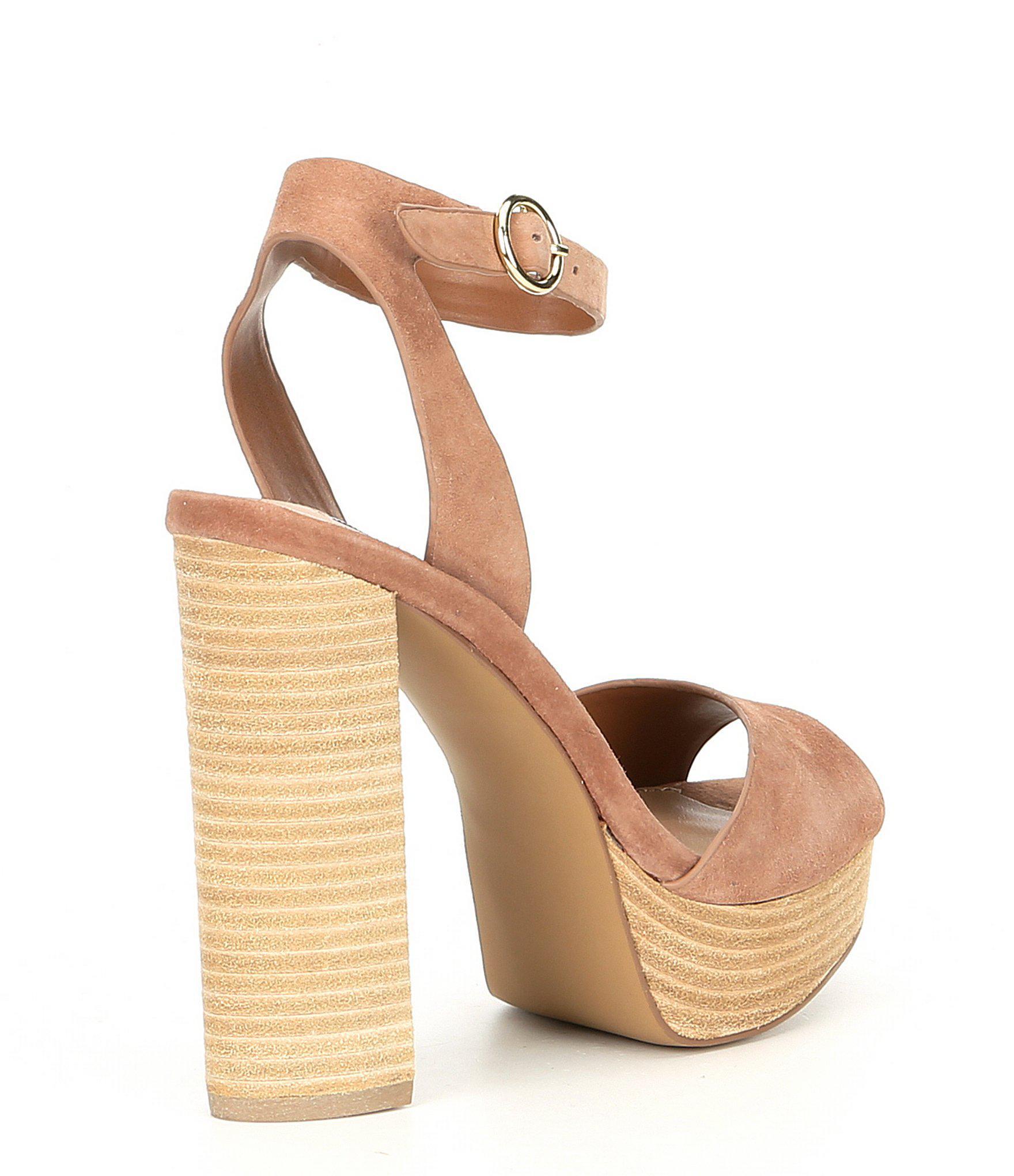 b4d39e4cdb8e Steve Madden - Brown Madeline Suede Block Heel Platform Sandals - Lyst.  View fullscreen