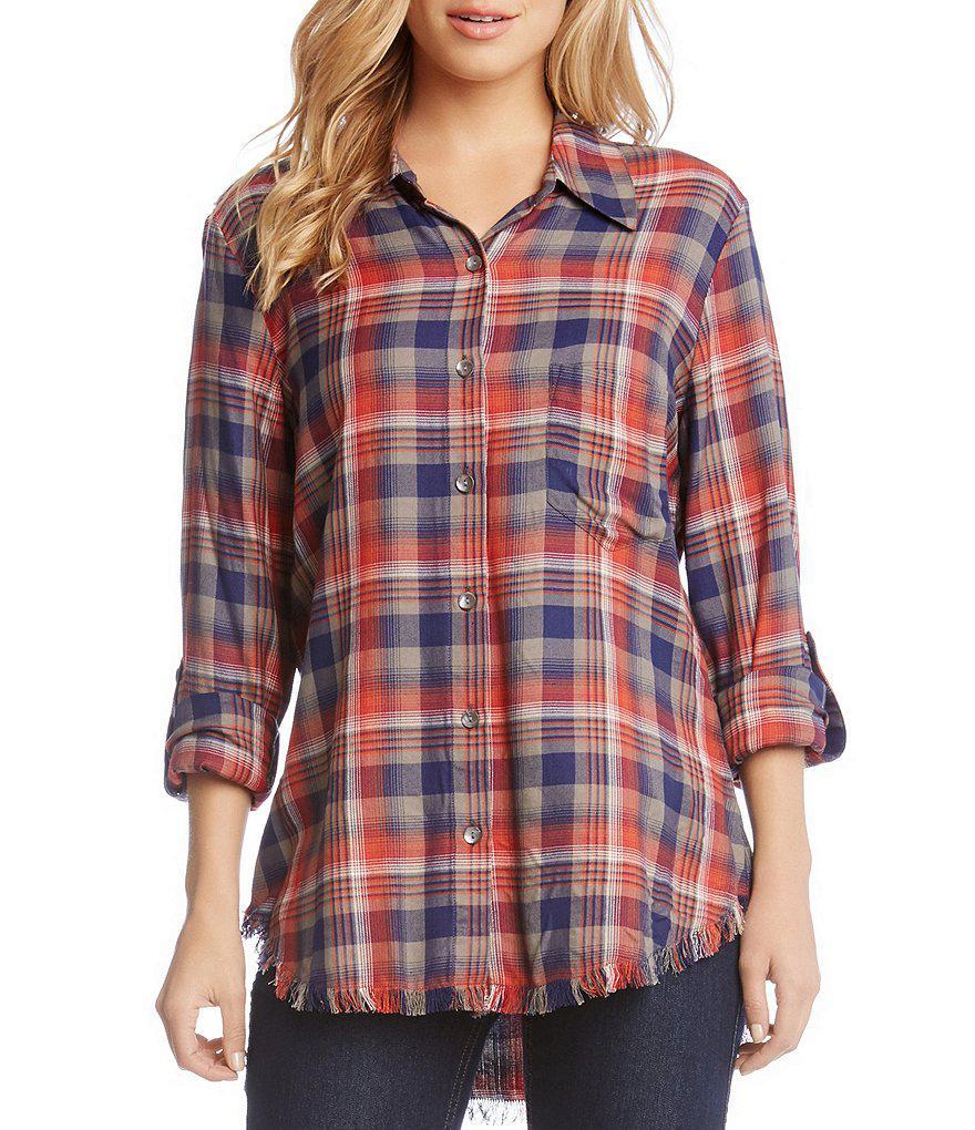3918620e Karen Kane Fringe Plaid Button Up Tunic Shirt in Red - Lyst