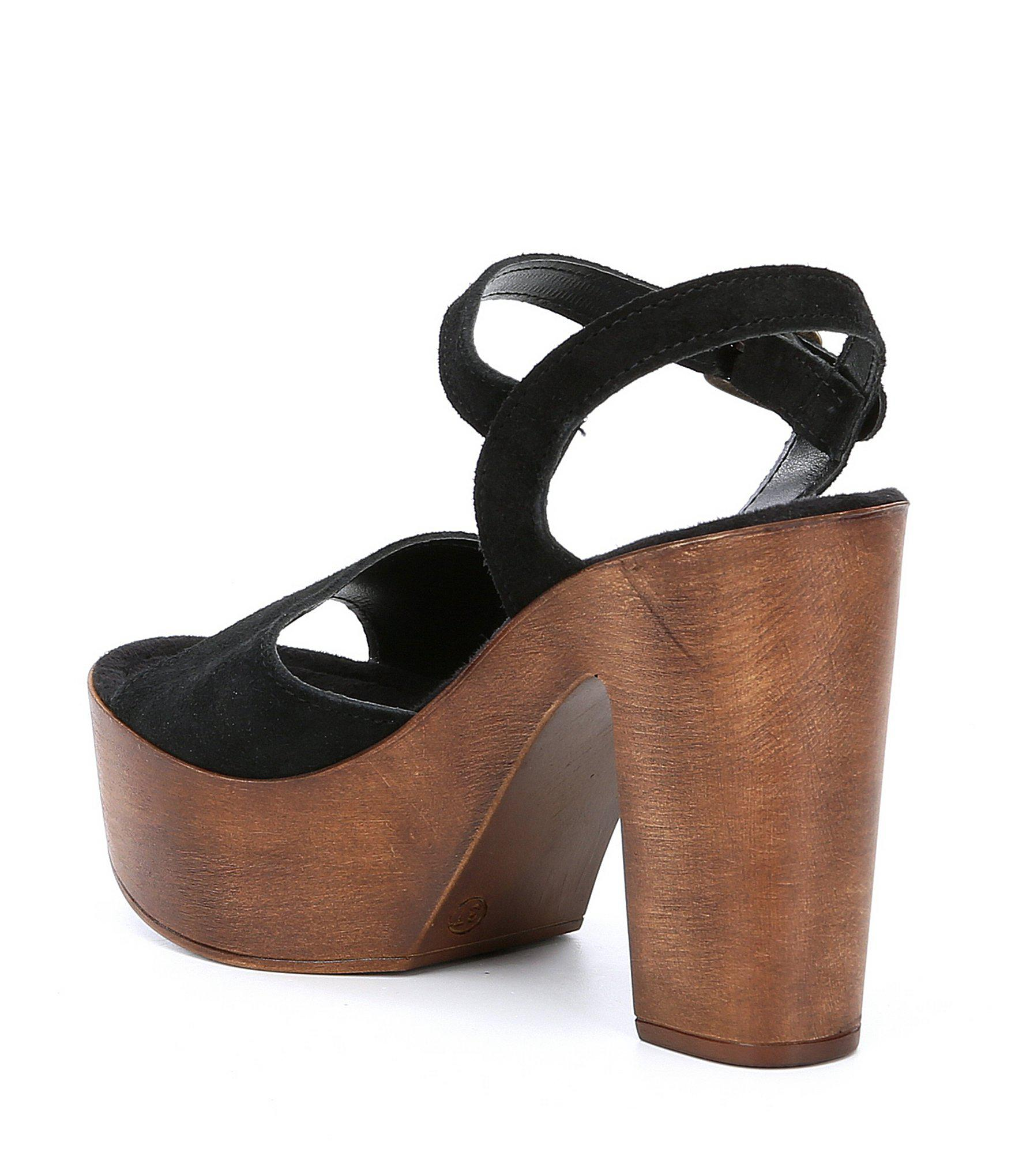 95b9a54b83fc Lyst - Steve Madden Lulla Suede Platform Block Heel Sandals in Black