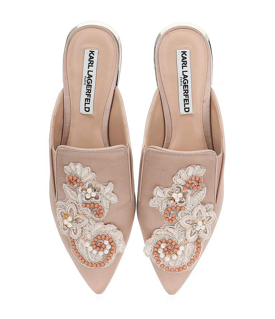 cheap sale factory outlet best place sale online Karl Lagerfeld Embellished Satin Mules finishline cheap price buy online outlet shop for nkp4f