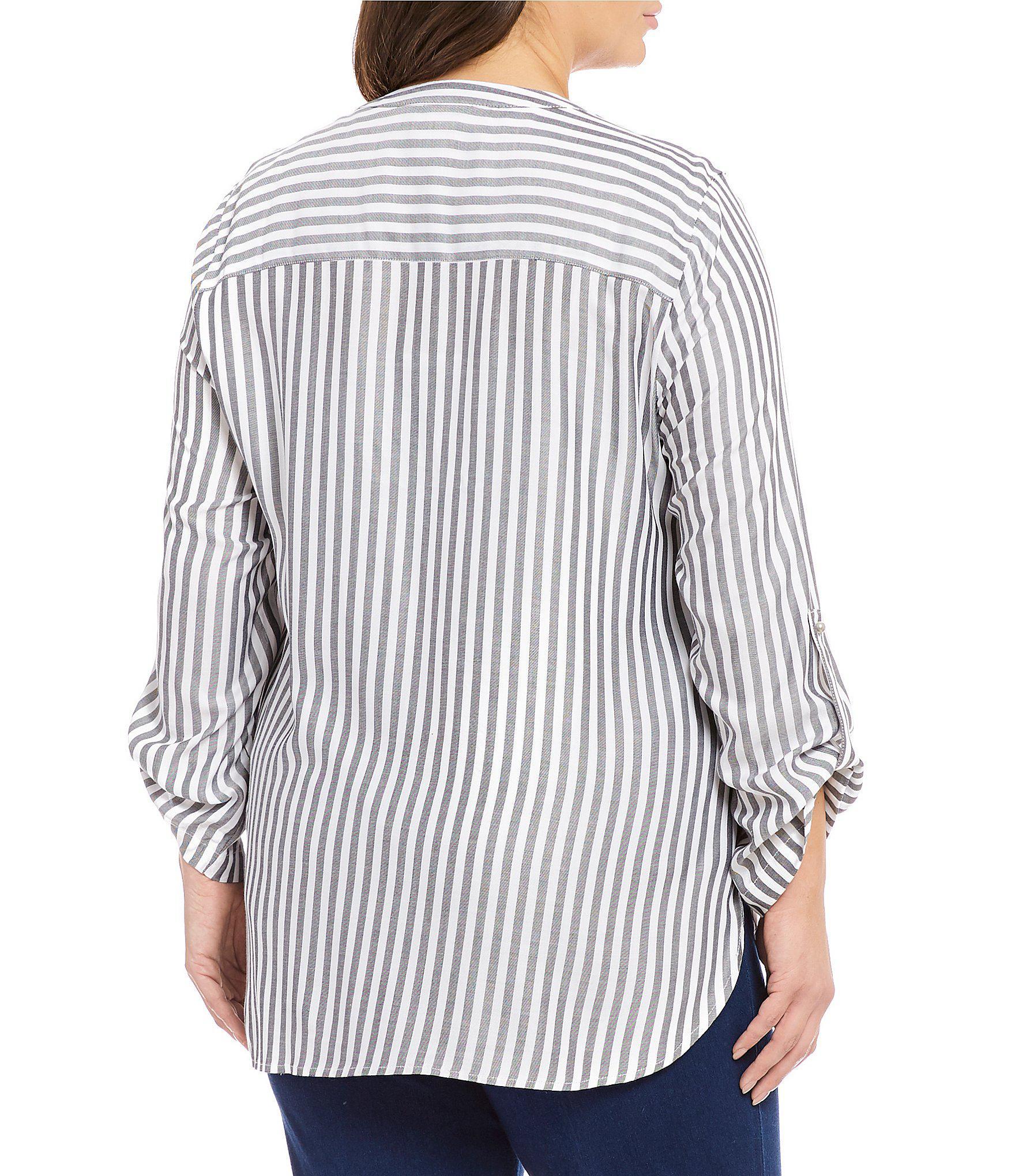 1a730534d06 Ruby Rd - Black Plus Size Coastal Stripe Long Roll-tab Sleeve Lace Up  Split. View fullscreen