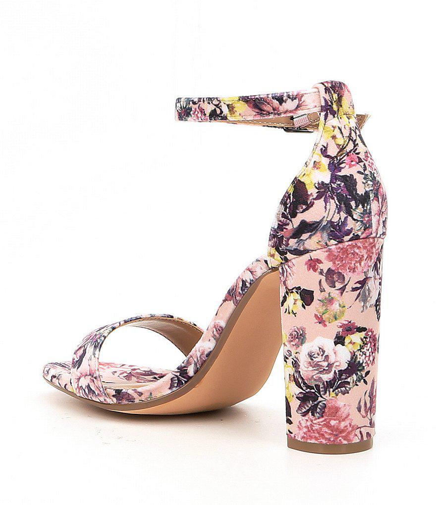 9a8b9745f08b Lyst - Steve Madden Carrson Floral Velvet Ankle Strap Block Heel ...