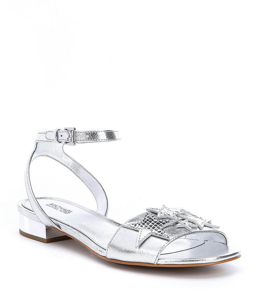 MICHAEL Michael Kors Lexie Metallic Snake Print Ankle Strap Dress Sandals iDNoybU3BM