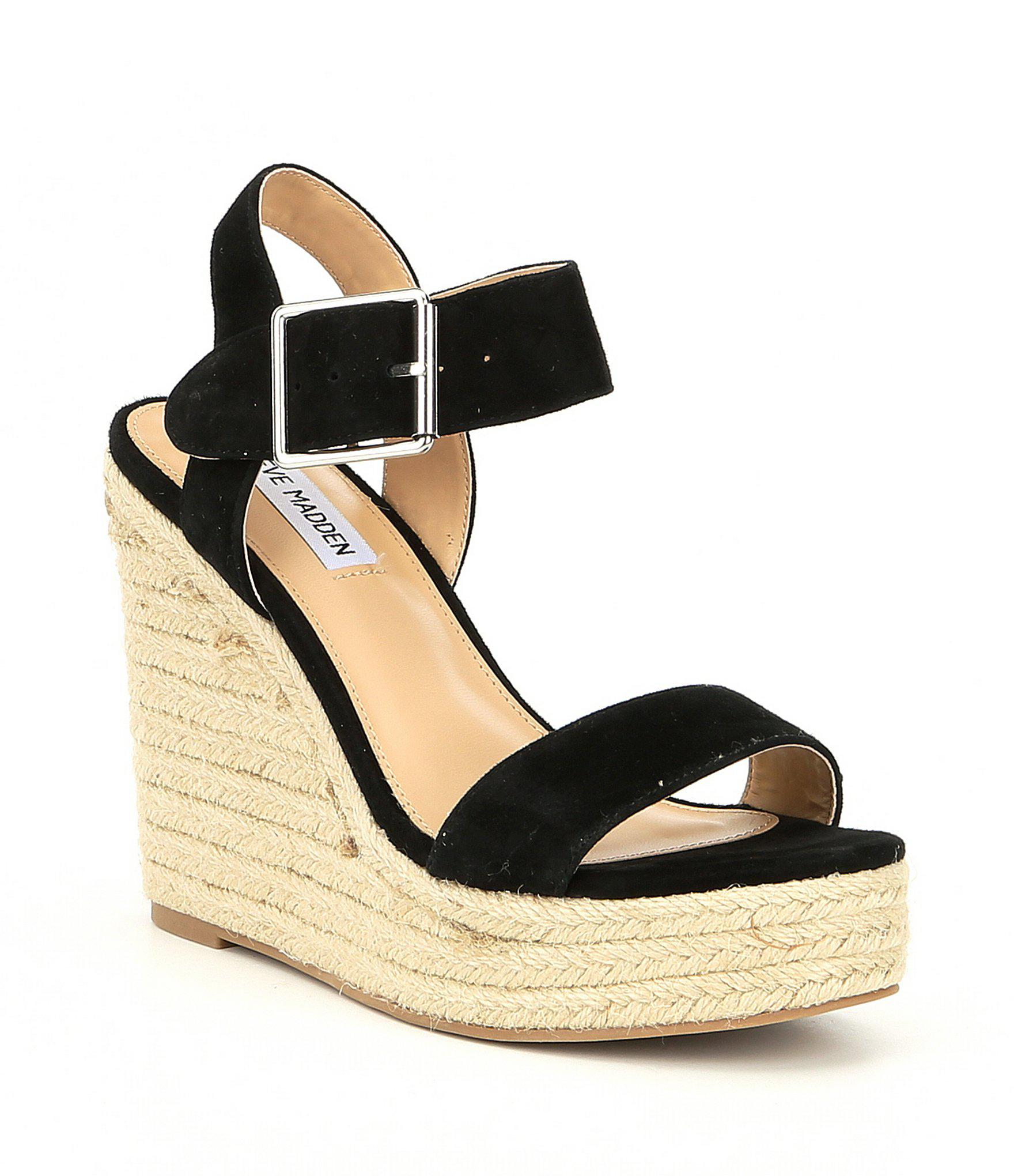 570cd1eb13d Steve Madden Santorini Suede Espadrille Wedge Sandals in Black - Lyst