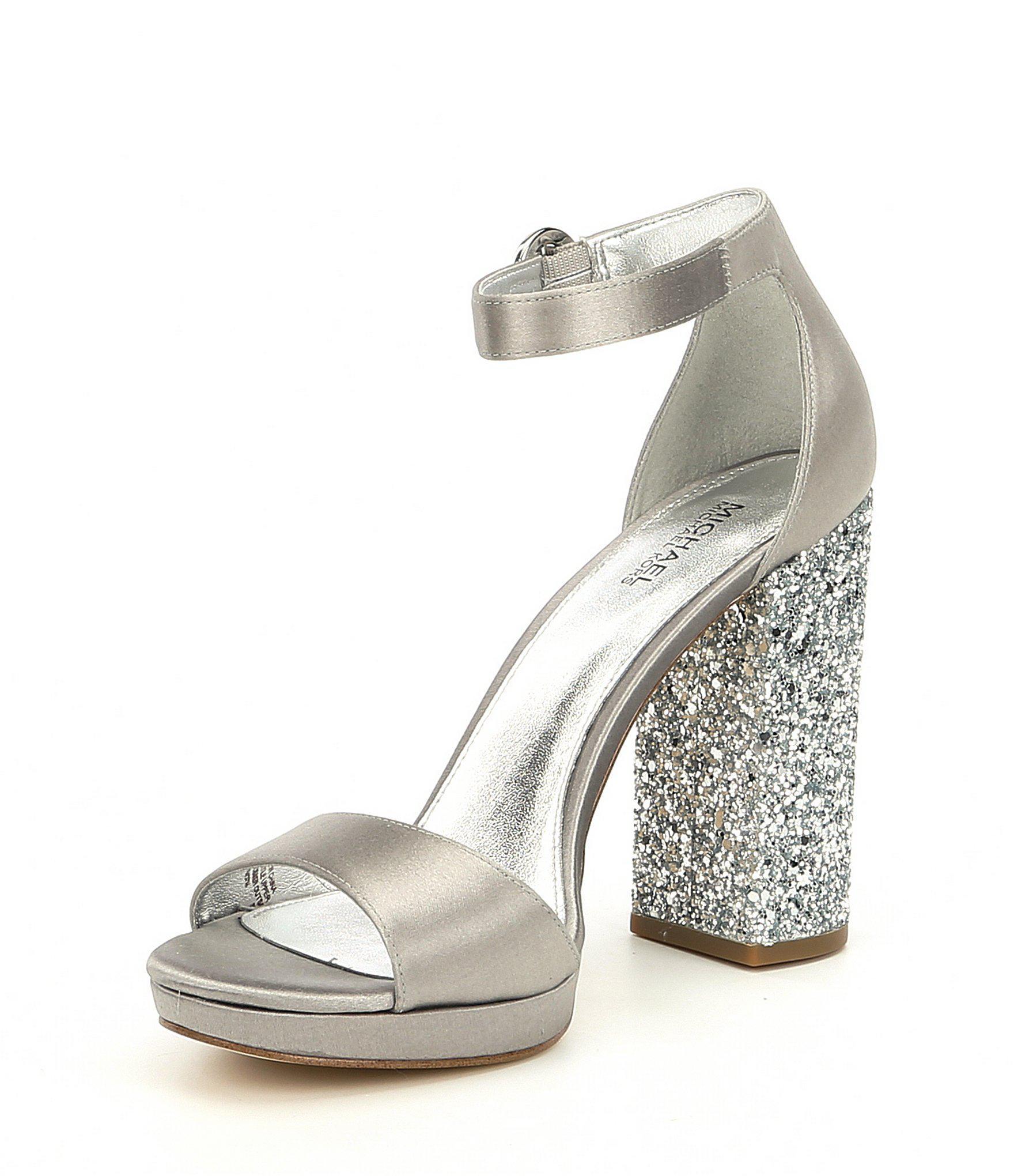 57e6dfea73a Lyst - MICHAEL Michael Kors Erika Satin Glitter Block Heel Dress ...