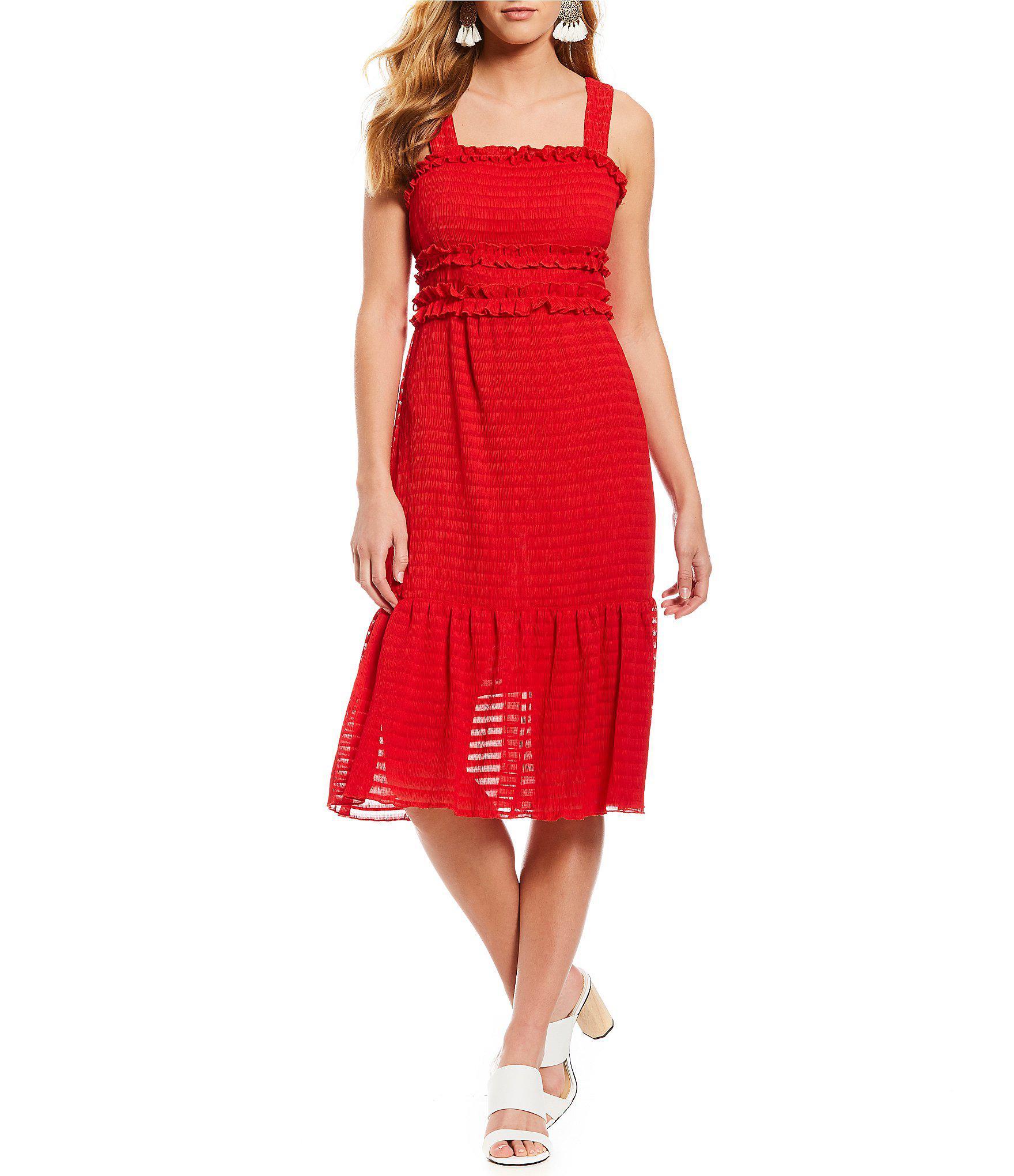 65eebb82af4 Gianni Bini Snyder Smocked Sheer Stripe Midi Dress in Red - Lyst