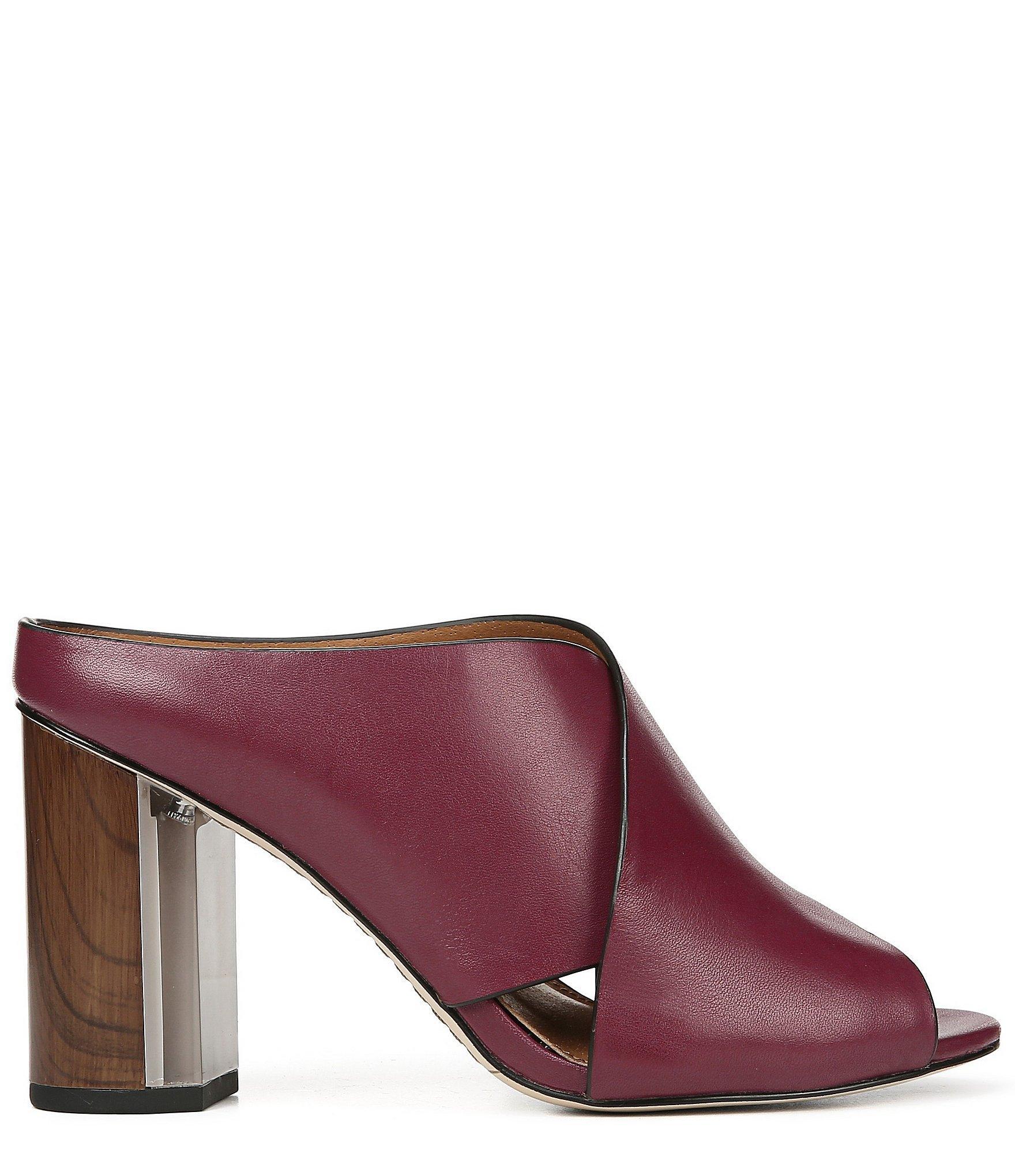9ea557cf925b Franco Sarto Sarto By Clara Leather Block Heel Dress Mules in Purple ...