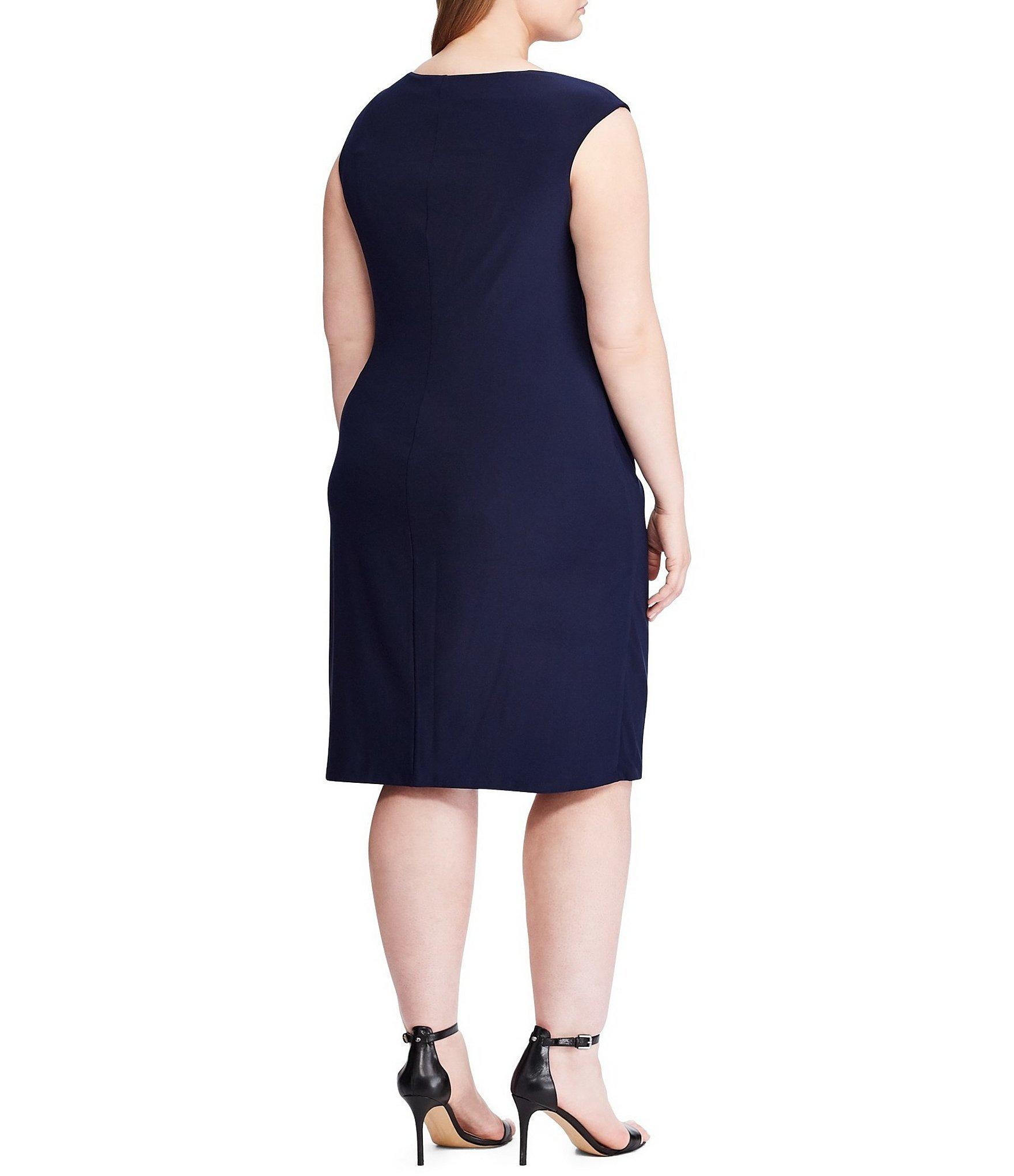 8d1927dc383 Lauren by Ralph Lauren - Blue Plus Size Elkana Matte Jersey Cap Sleeve  Sheath Dress -. View fullscreen