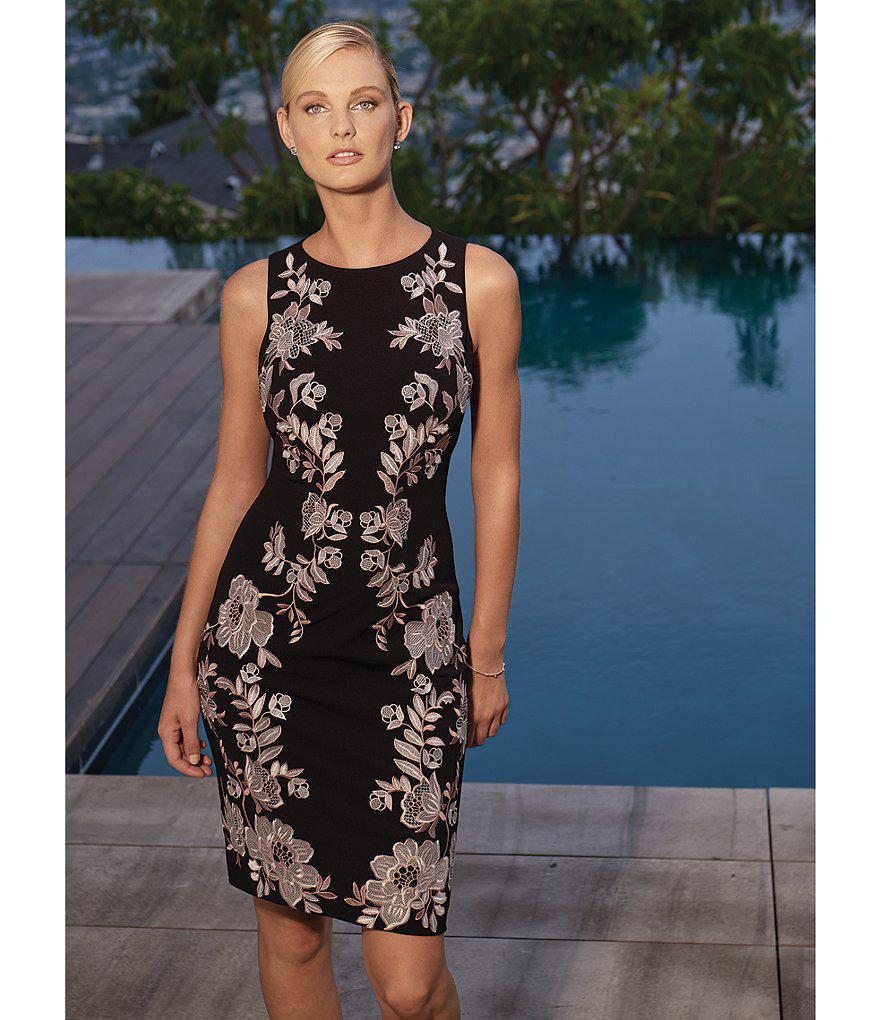 7e286a60814 Antonio Melani Crane Embroidered Dress in Black - Lyst