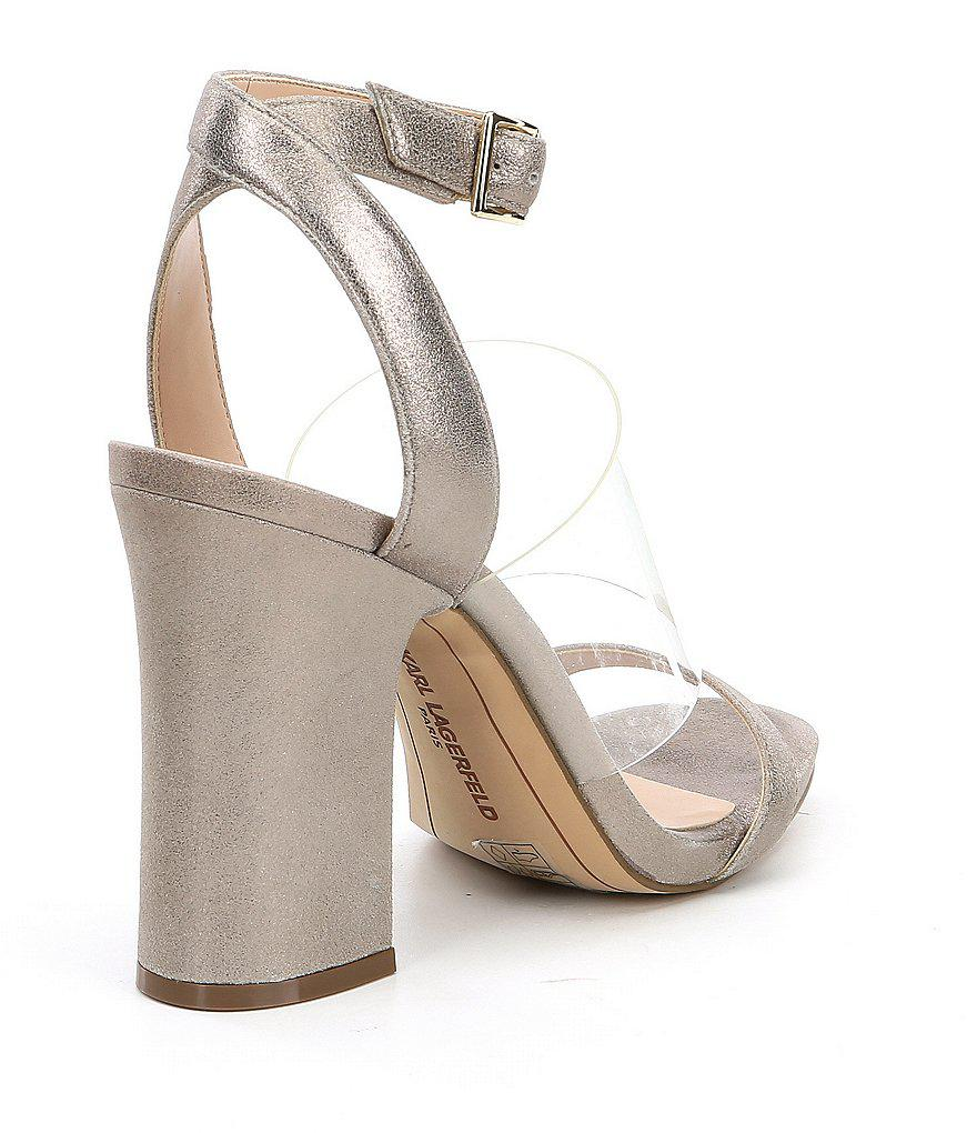 Raya Suede Transparent Vinyl Strap Block Heel Dress Sandals LzQMftc8