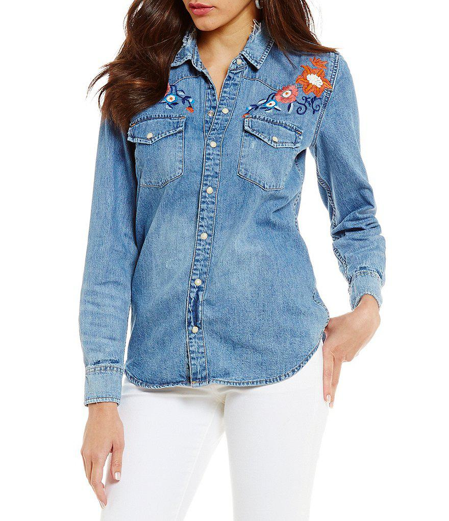 4145f70d0f Lyst - Lucky Brand Long Sleeve Button Front Floral Embroidered Denim ...
