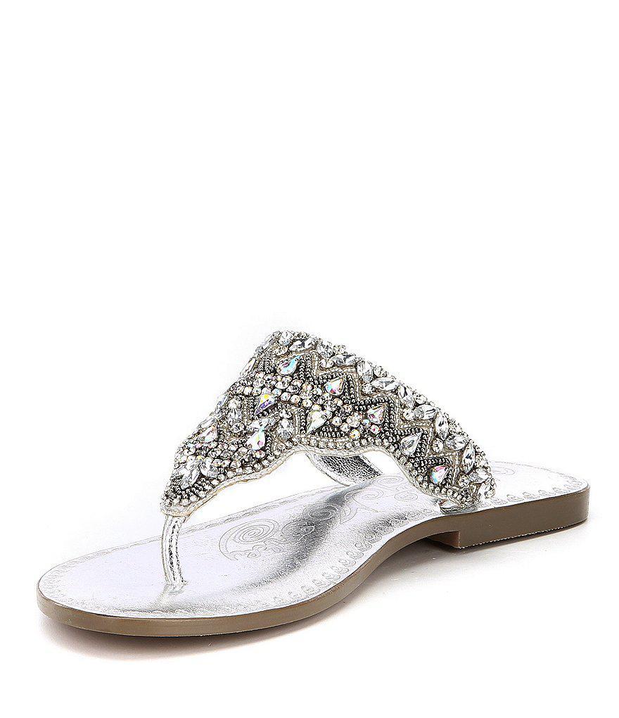 Loving U Jeweled Thong Sandals PnhV5R2F5z