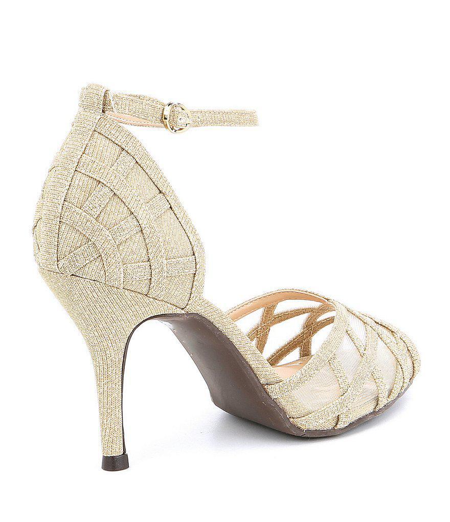 J. Renee Mataro Glitter and Mesh Ankle Strap Peep-Toe Dress Sandals UvVkGi26y