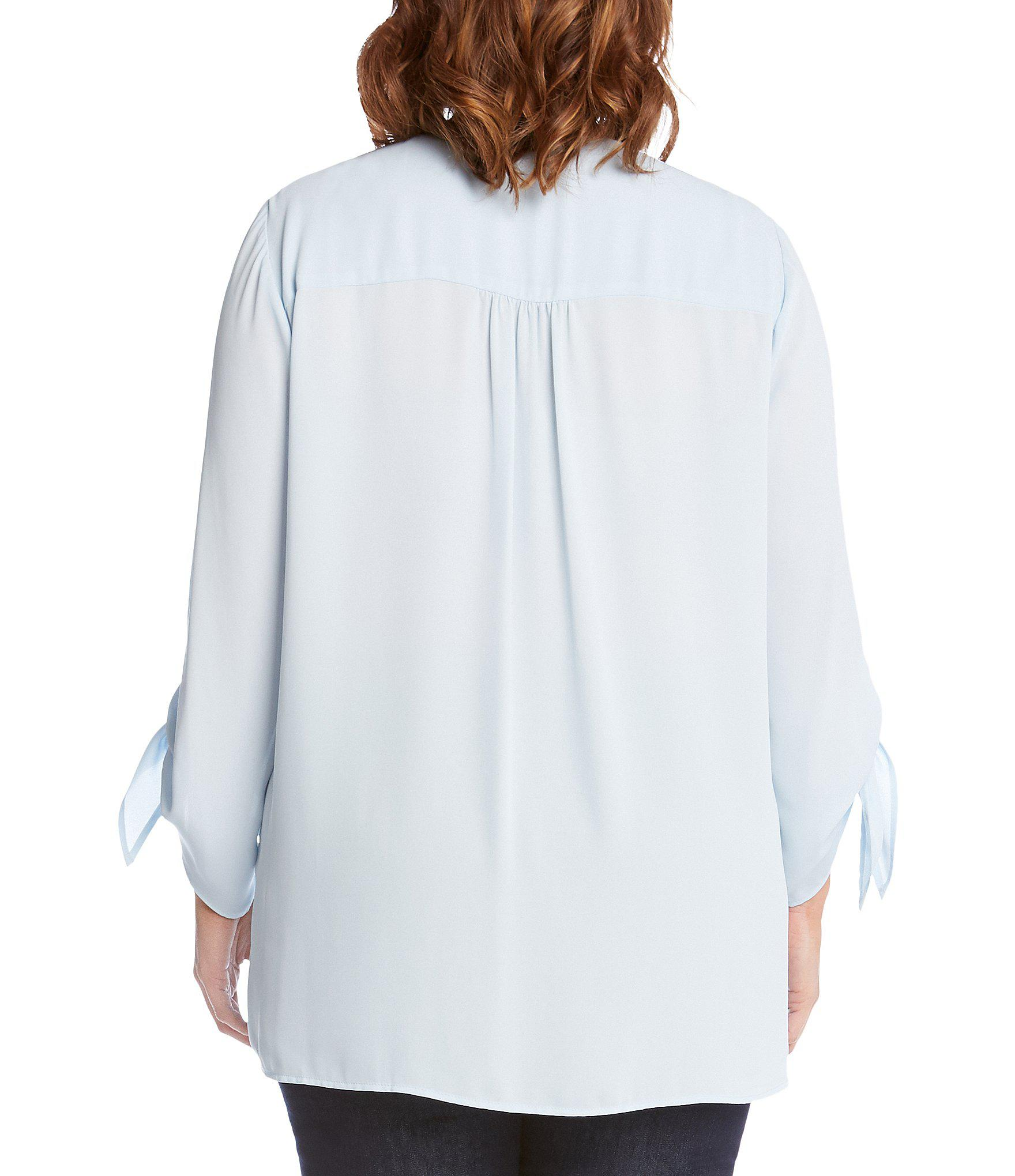 5e8aab30079 Lyst - Karen Kane Plus Size Crossover Tie-sleeve Top in Blue