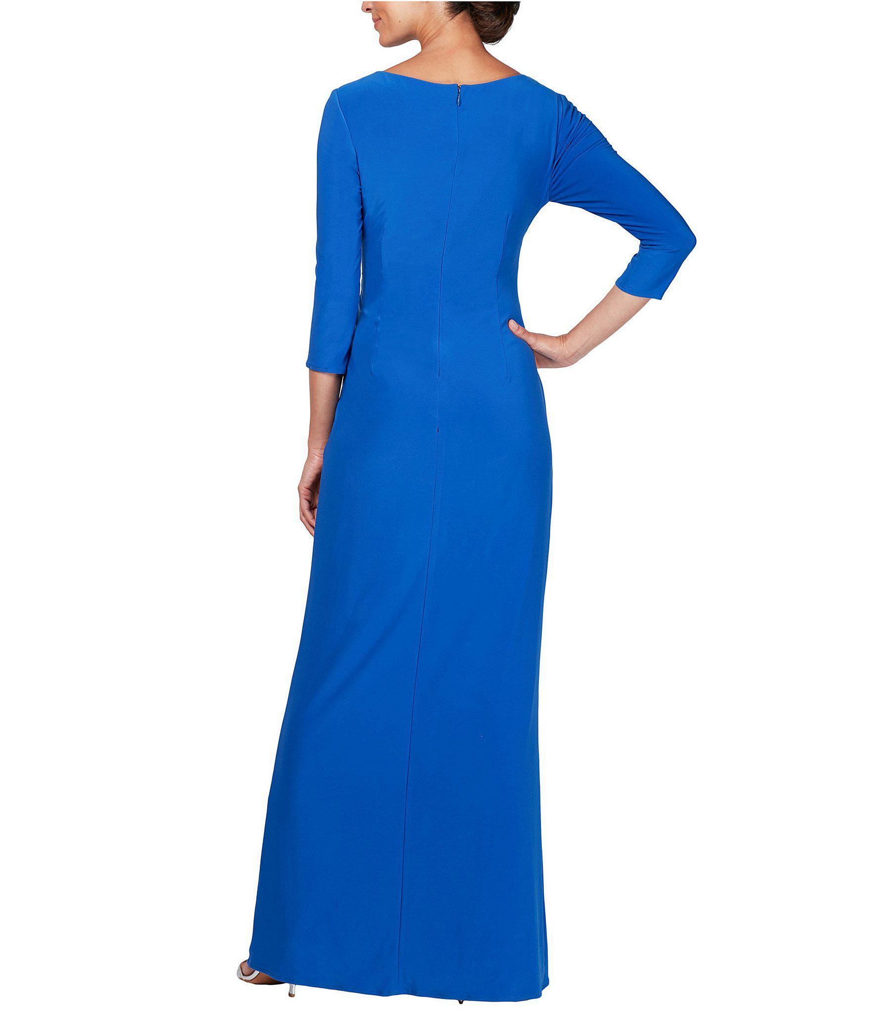 14303a41797 Alex Evenings - Blue Petite Size V-neck Embellished Waist Draped Long  A-line. View fullscreen
