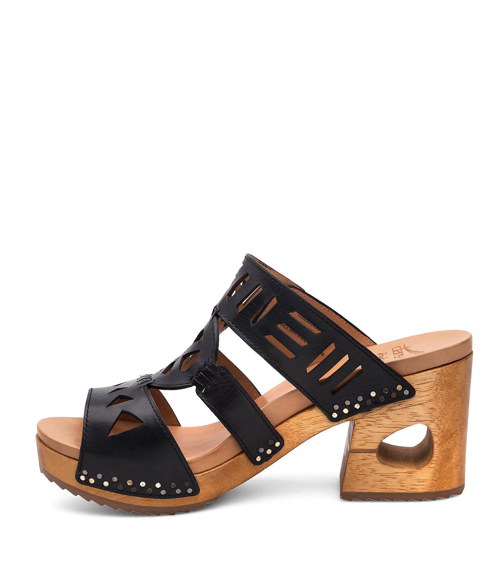 f54aeeb7d401 Lyst - Dansko Oralee Black Waxy Block Heel Sandals in Black