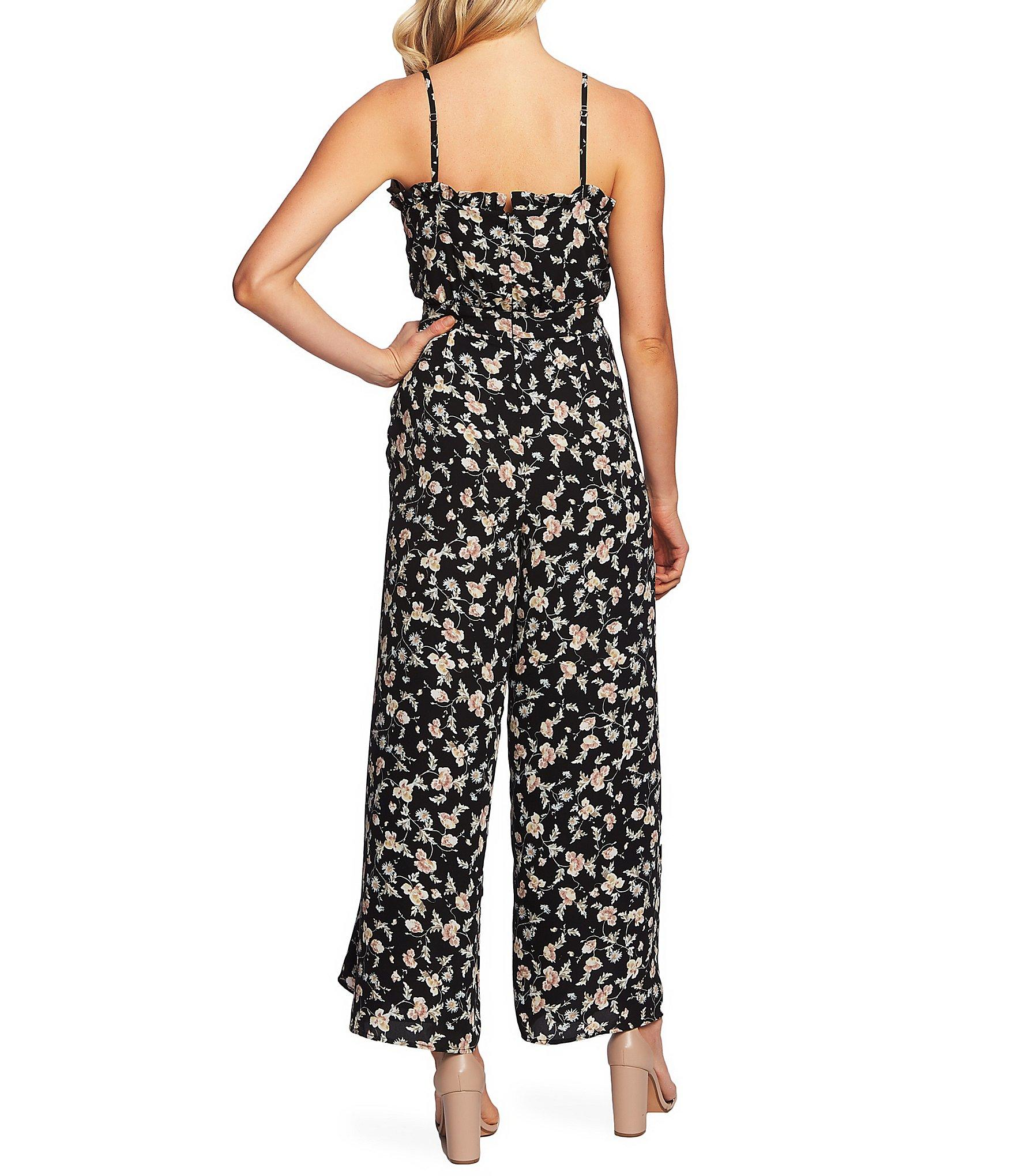 232c31aa851 Cece - Black Floral Print Sleeveless Ruffle Trim Square Neck Wide Leg  Jumpsuit - Lyst. View fullscreen