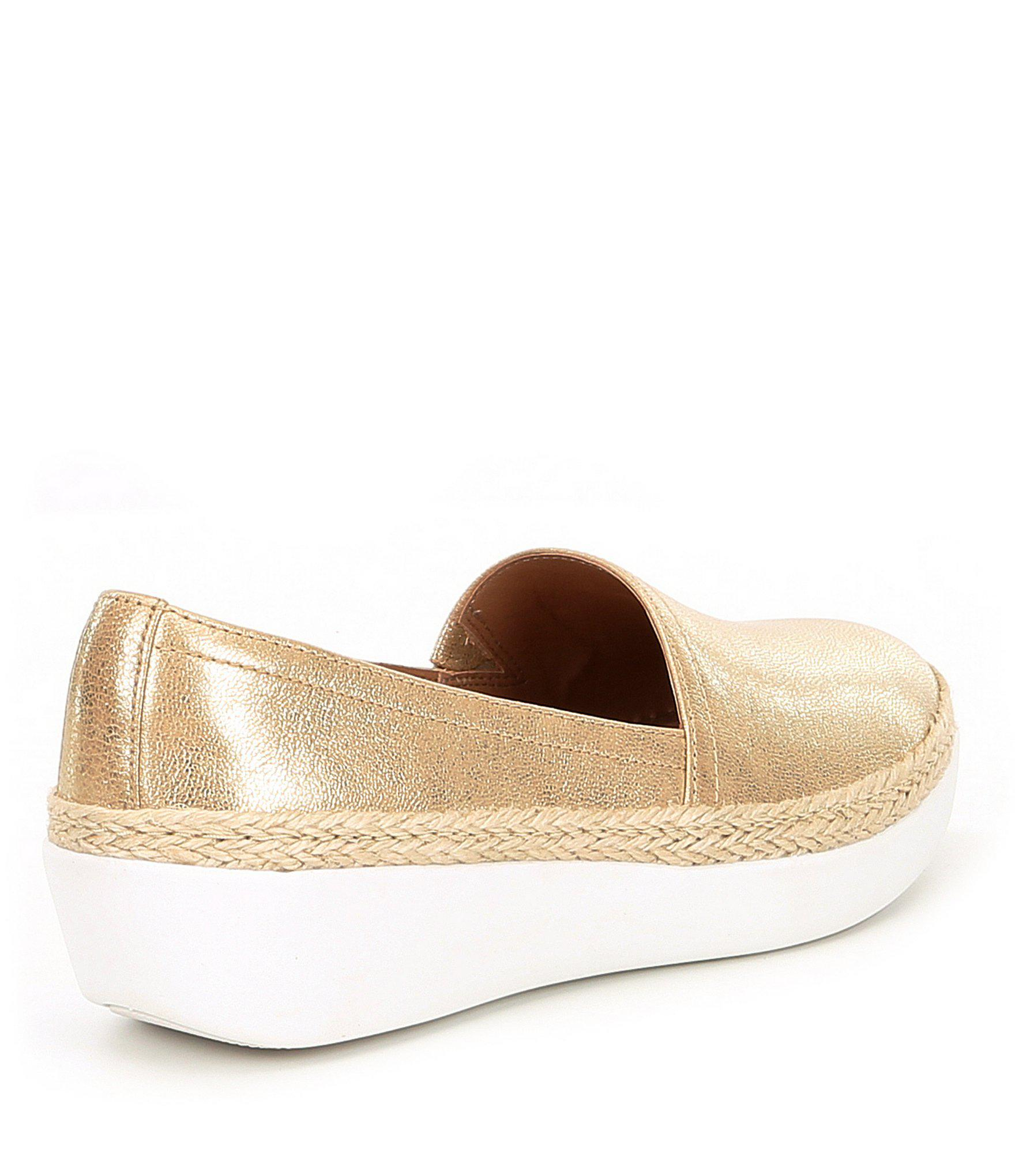 e2d395af505b Lyst - Fitflop Casa Metallic Leather Slip-on Loafers in Metallic
