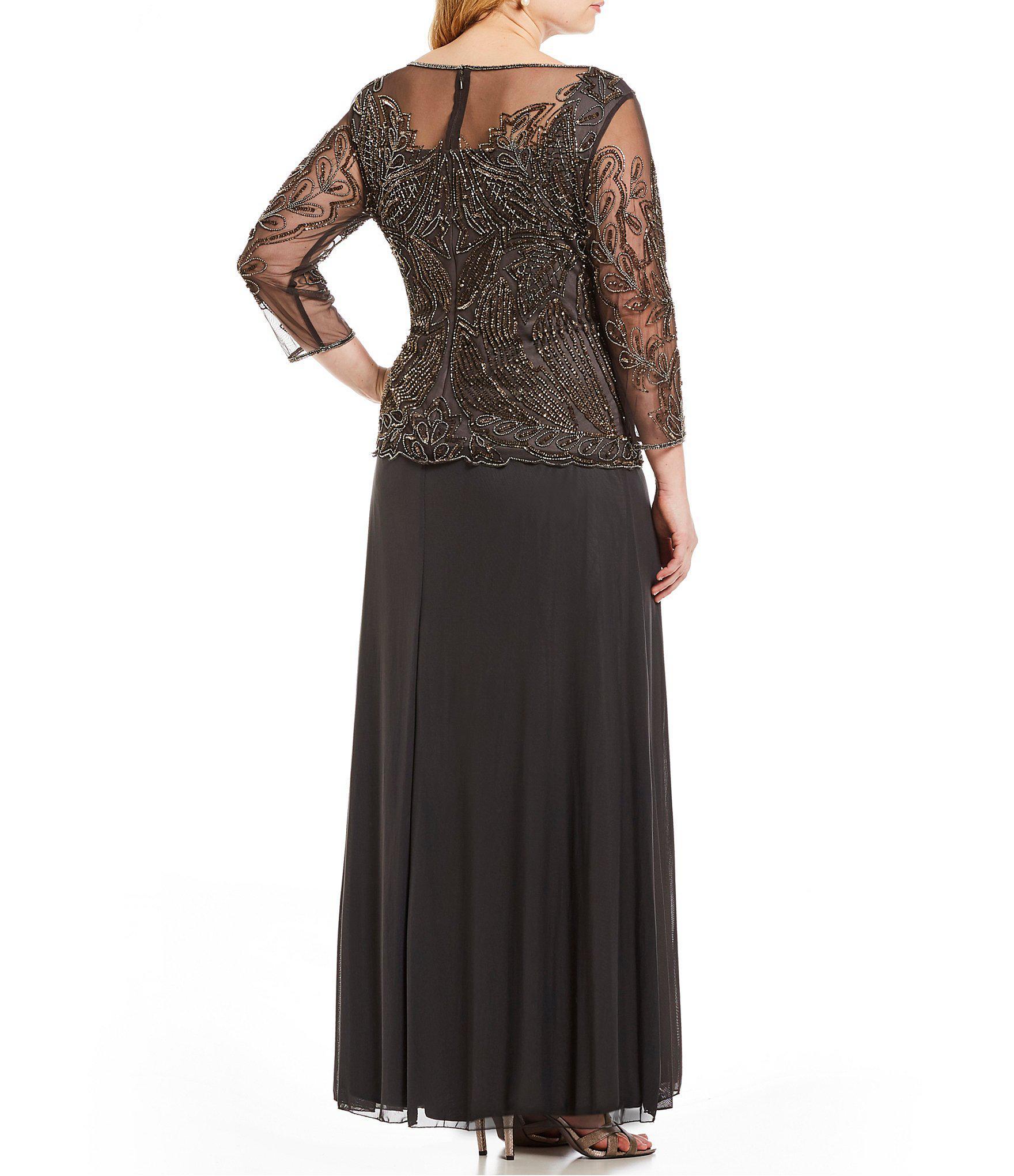 dd50b366123 Lyst - Pisarro Nights Plus Floral Beaded Bodice Mock 2-piece Dress ...