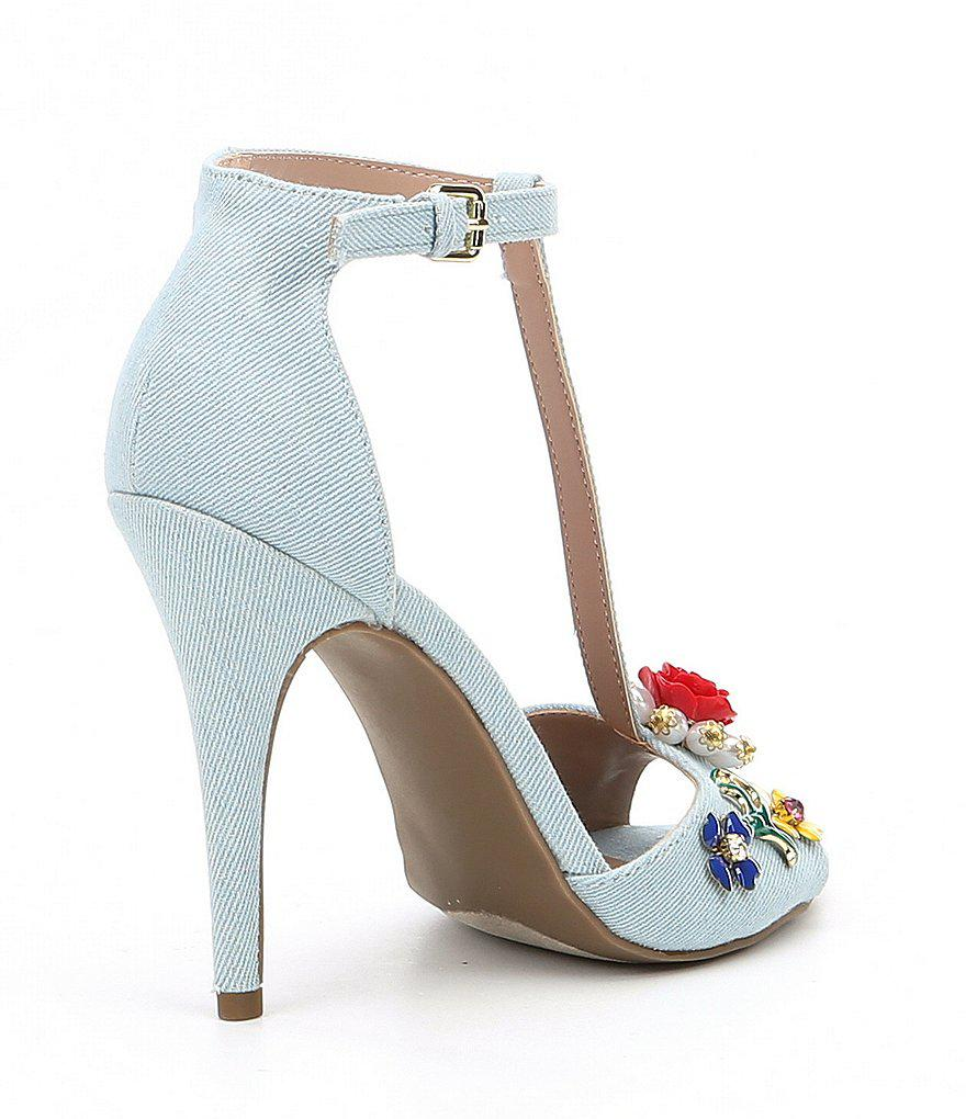 Betsey Johnson Lenox Denim T-Strap Flower Ornament Dress Sandals yDKuEBzU