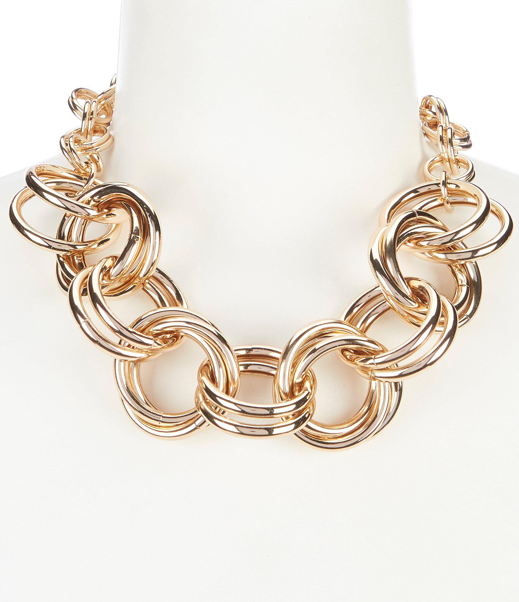 d8929dbc3c66f Dillard's Tailored Double Link Ring Frontal Necklace in Metallic - Lyst