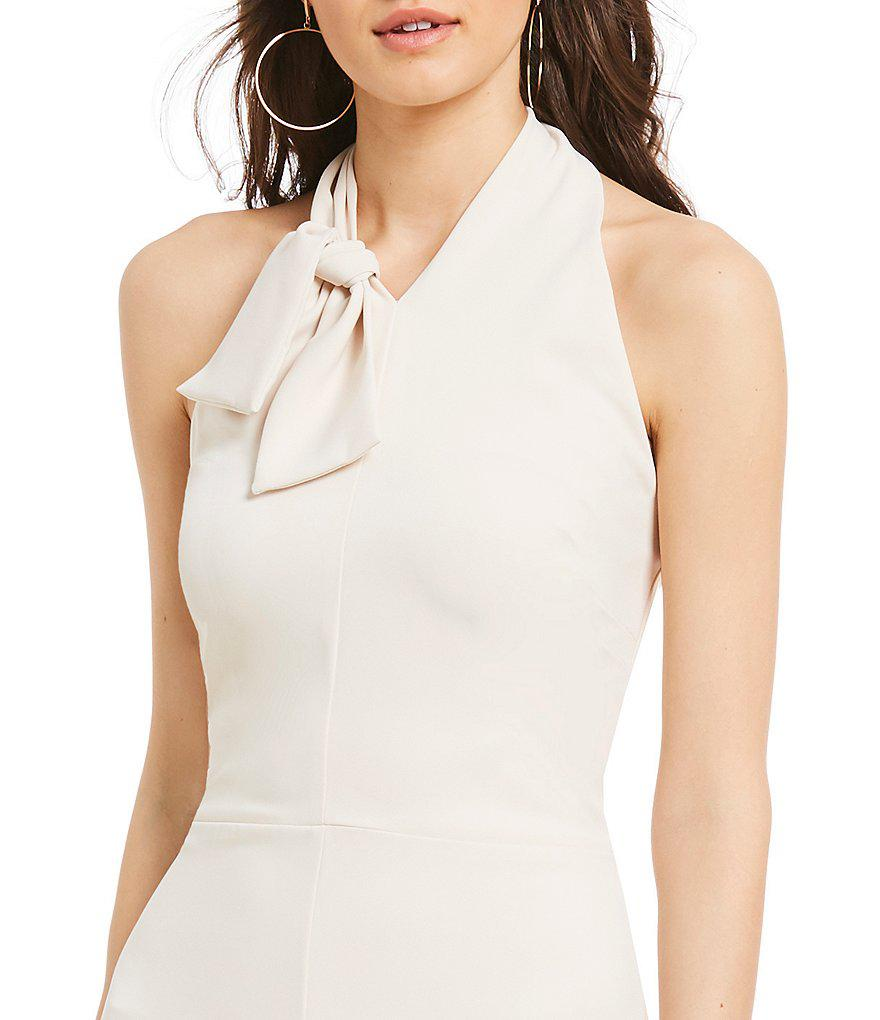 White Silk Taffeta Faille Bow Back Jumpsuit With: Sugarlips Bow Halter Culotte Jumpsuit In White