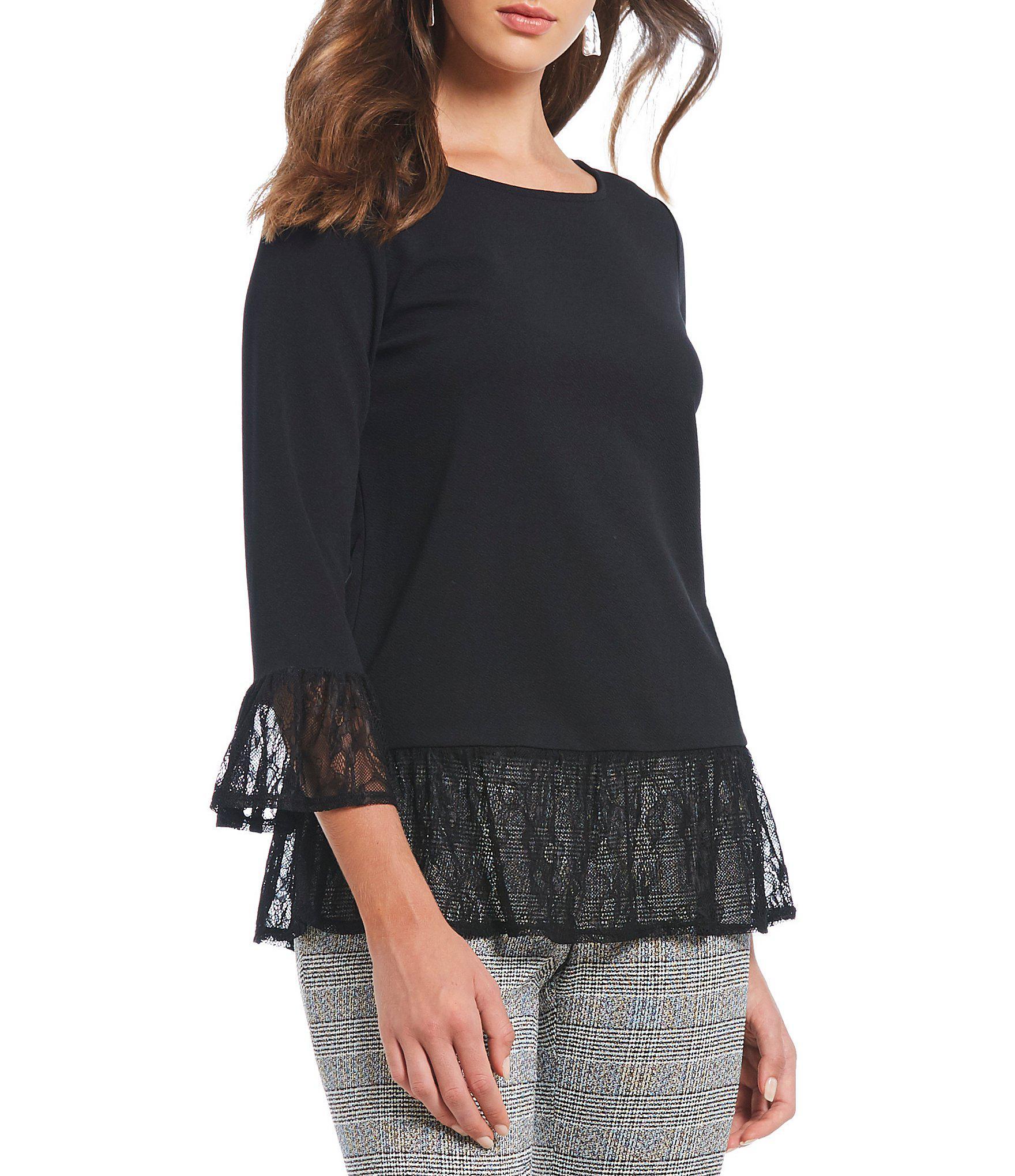 baf0652af976c Lyst - Ivanka Trump Textured Knit Bell Sleeve Lace Trim Tunic in Black