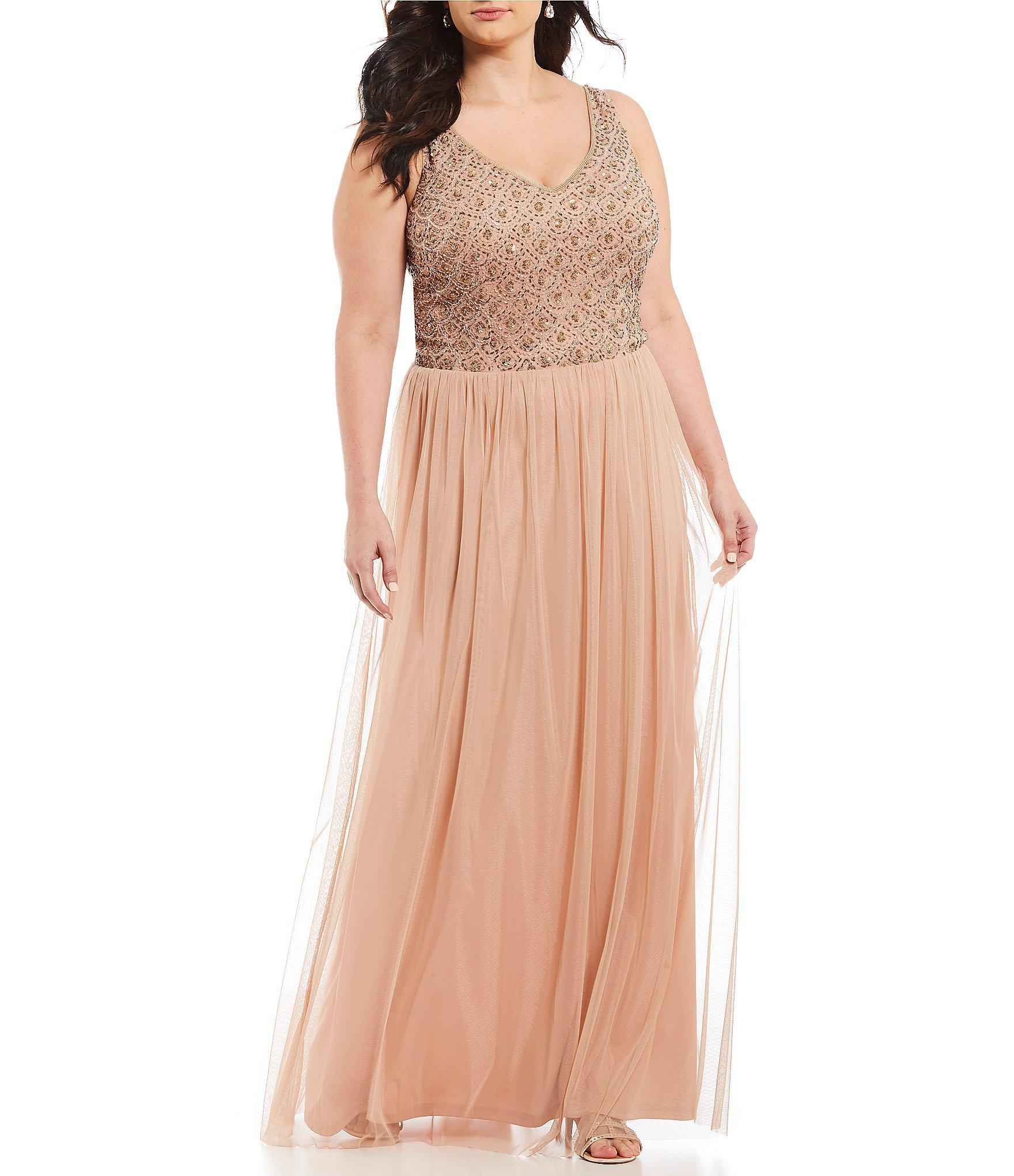 cd20825fe6c Lyst - Adrianna Papell Plus Size Beaded Bodice Tulle Gown