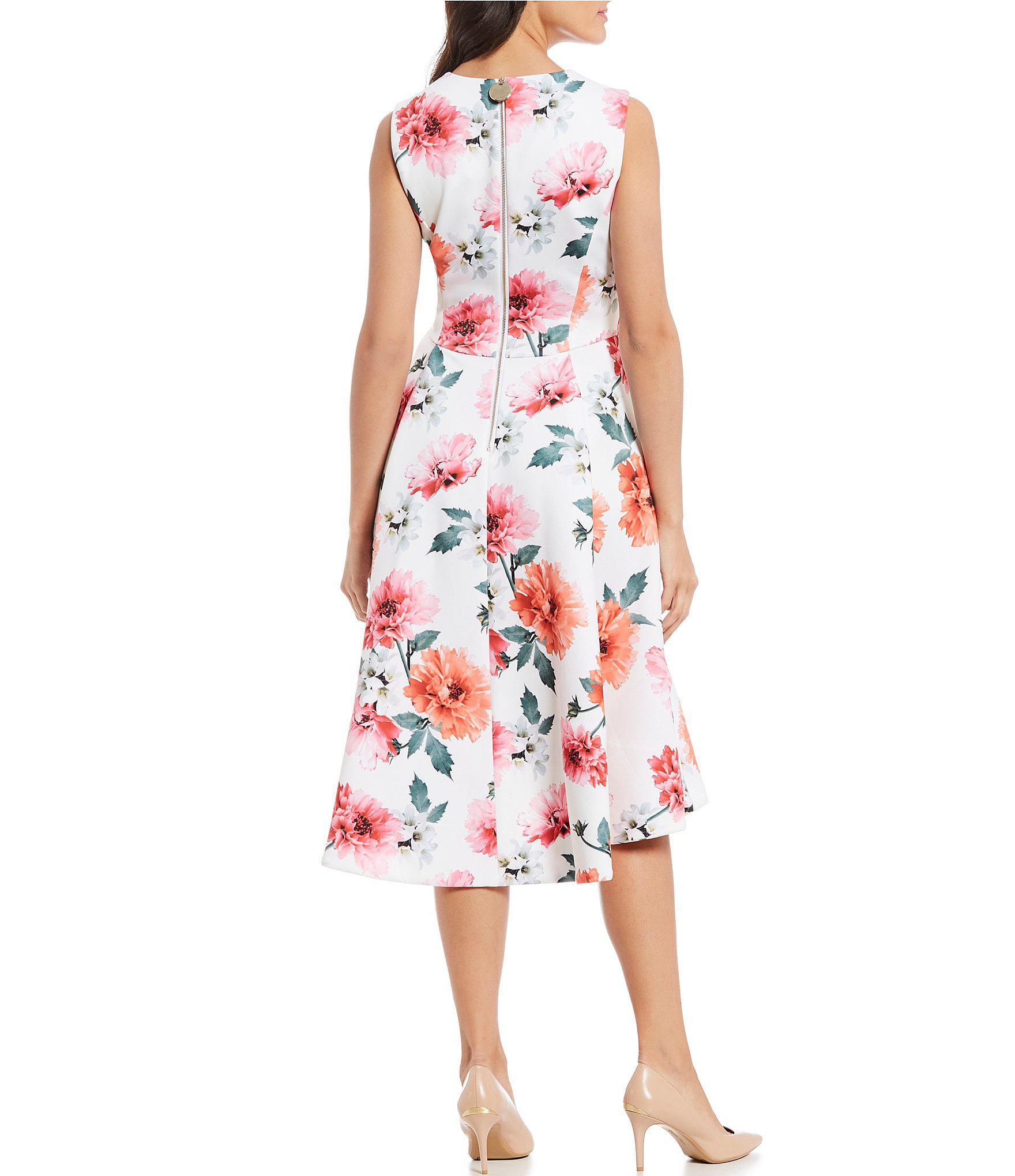 ab2f6dbe79 Calvin Klein Floral Print Hi-low Sleeveless Midi Dress in Red - Lyst