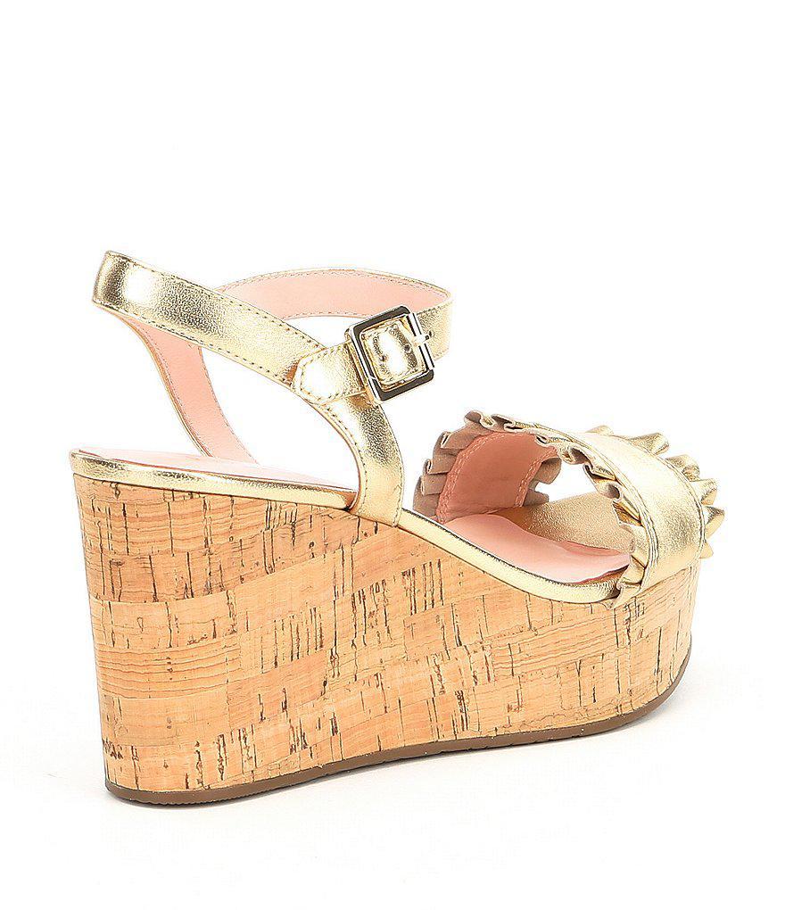 Tomas Metallic Leather Ruffle Detail Wedge Sandals KzhoTtaE