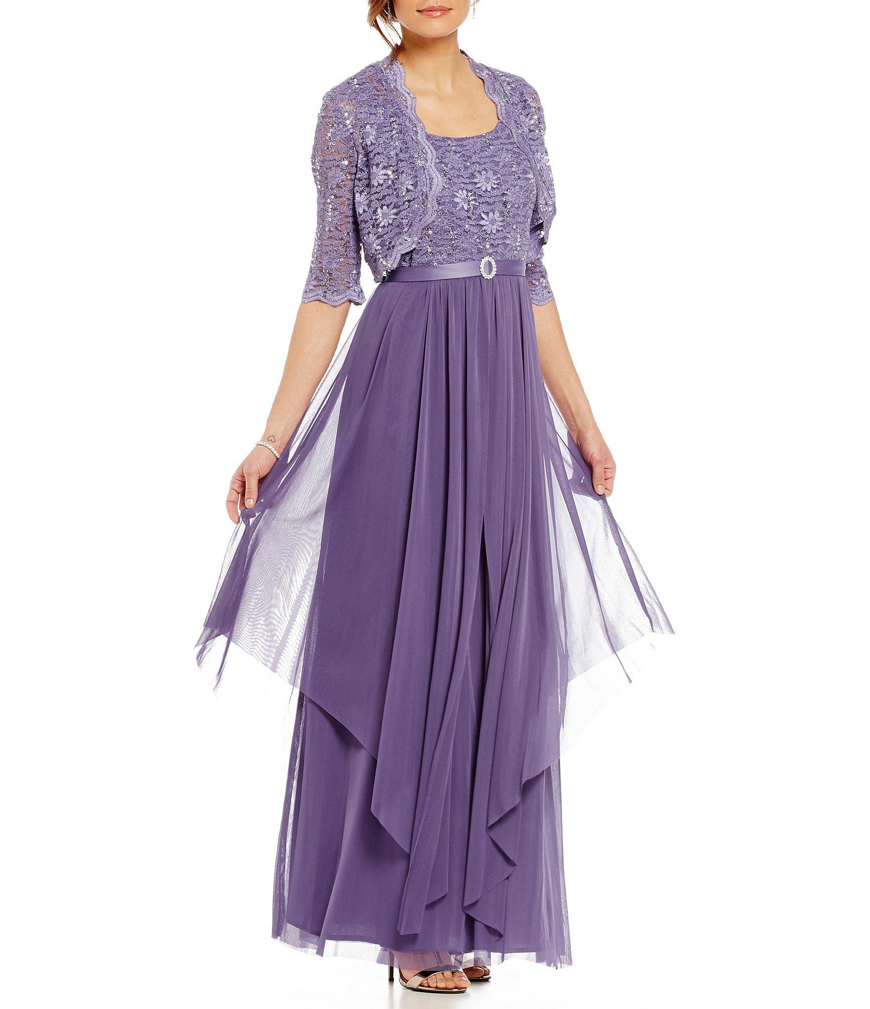cde8877cbeb Lyst - R   M Richards Sequined Lace   Chiffon Jacket Dress in Purple