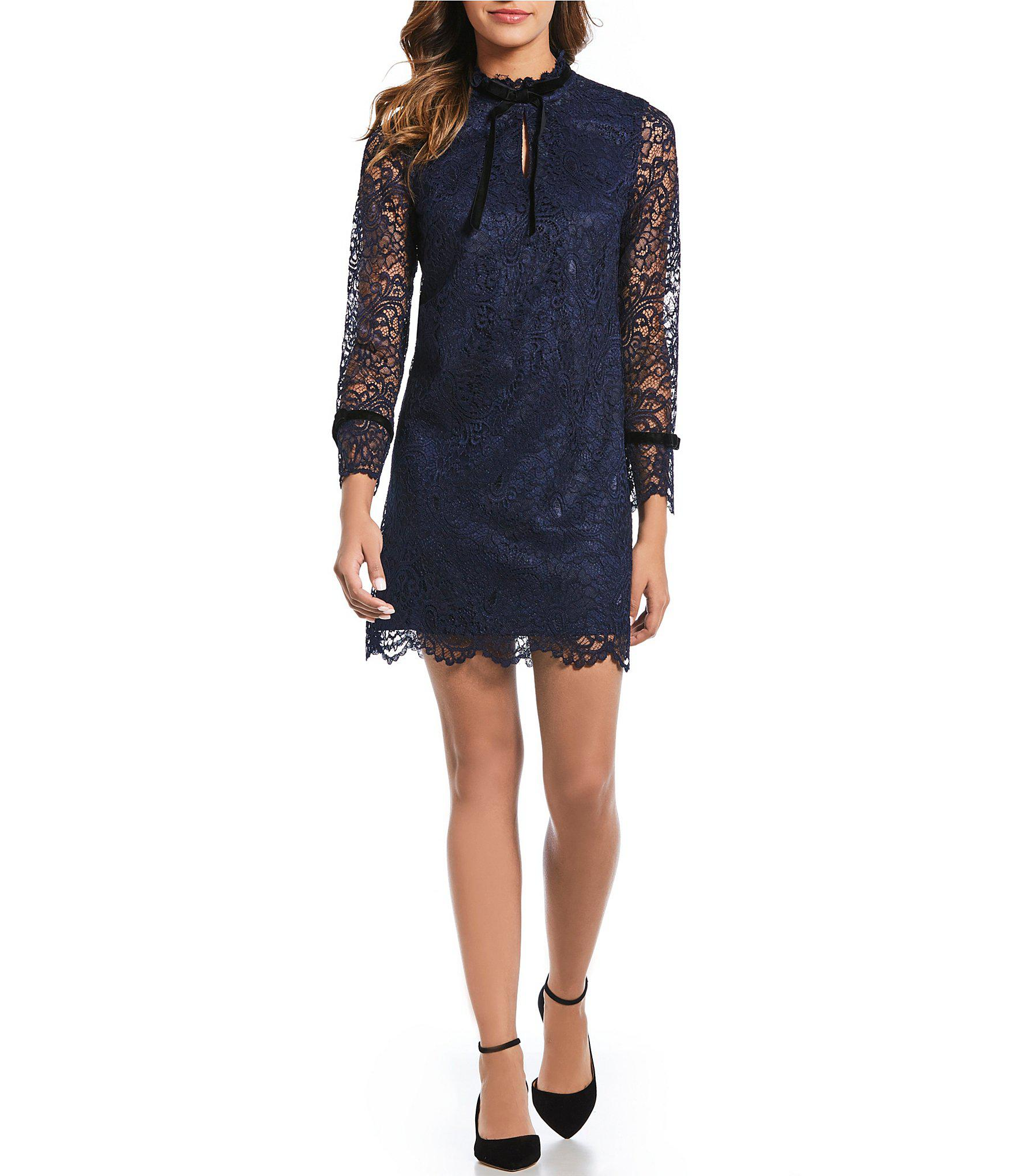 2d97b1dbcca1 Lyst - Tahari Petite Size Lace Velvet Tie Neck Sheath Dress in Blue