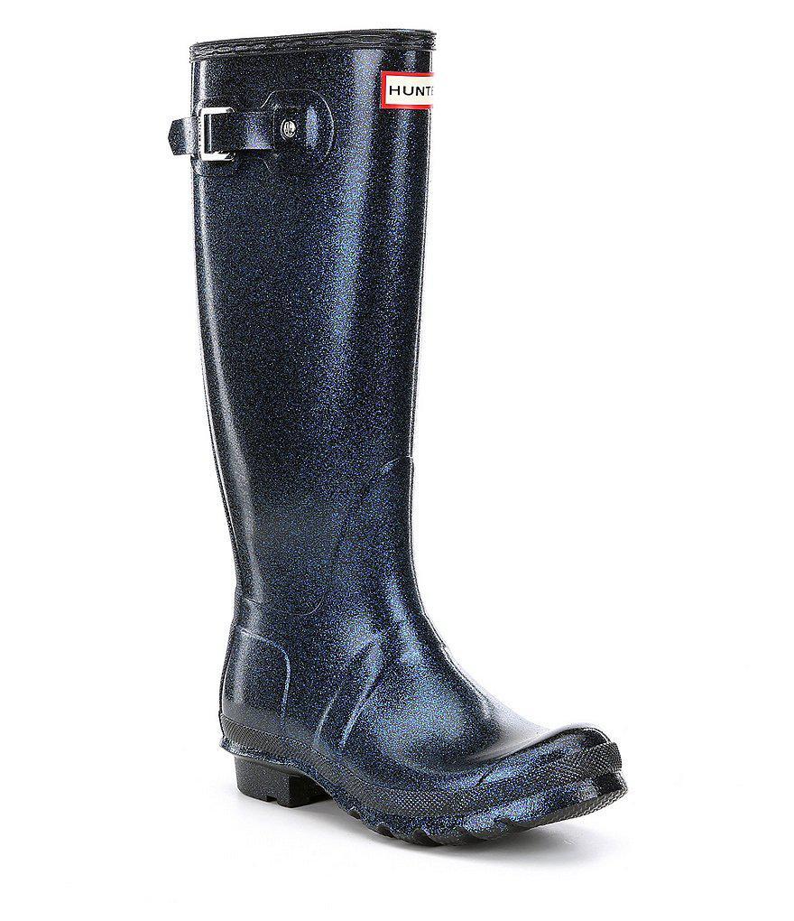 HUNTER. Black Women's Original Starcloud Buckle Detail Tall Glitter Rain  Boots