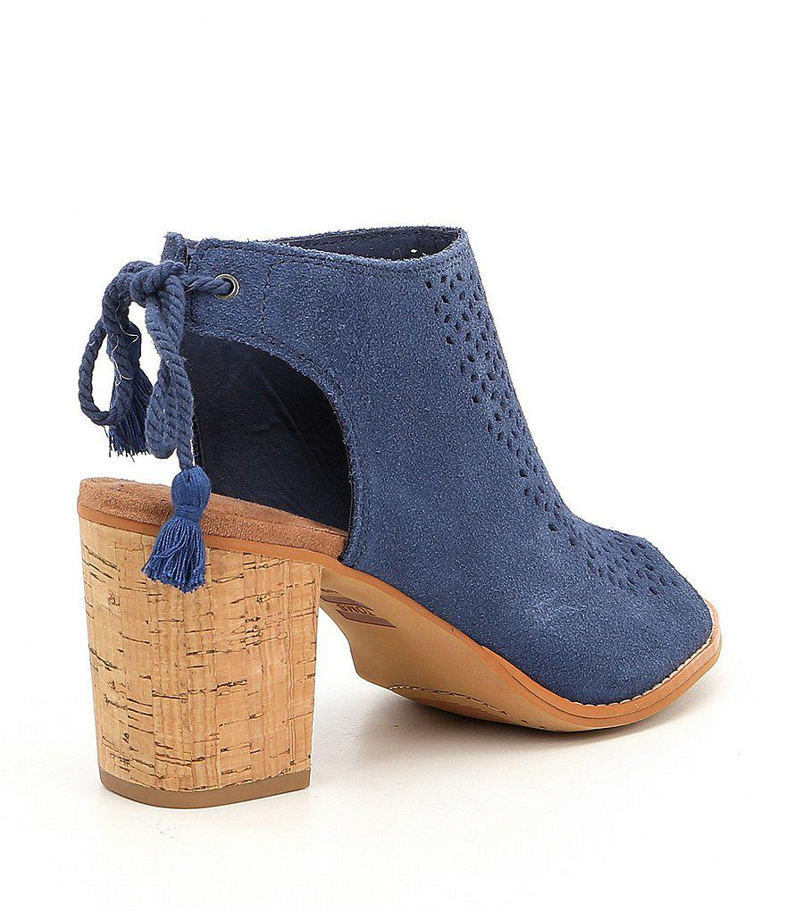 4a8644592d4 Lyst - TOMS Elba Suede Tie Back Block Heel Sandals in Brown