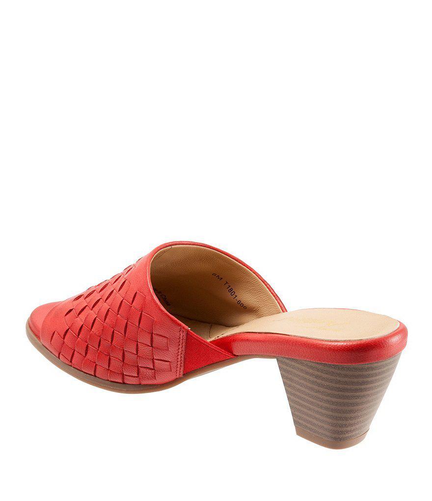 Corsa Woven Leather Block Heel Slide Sandals qQlSByK
