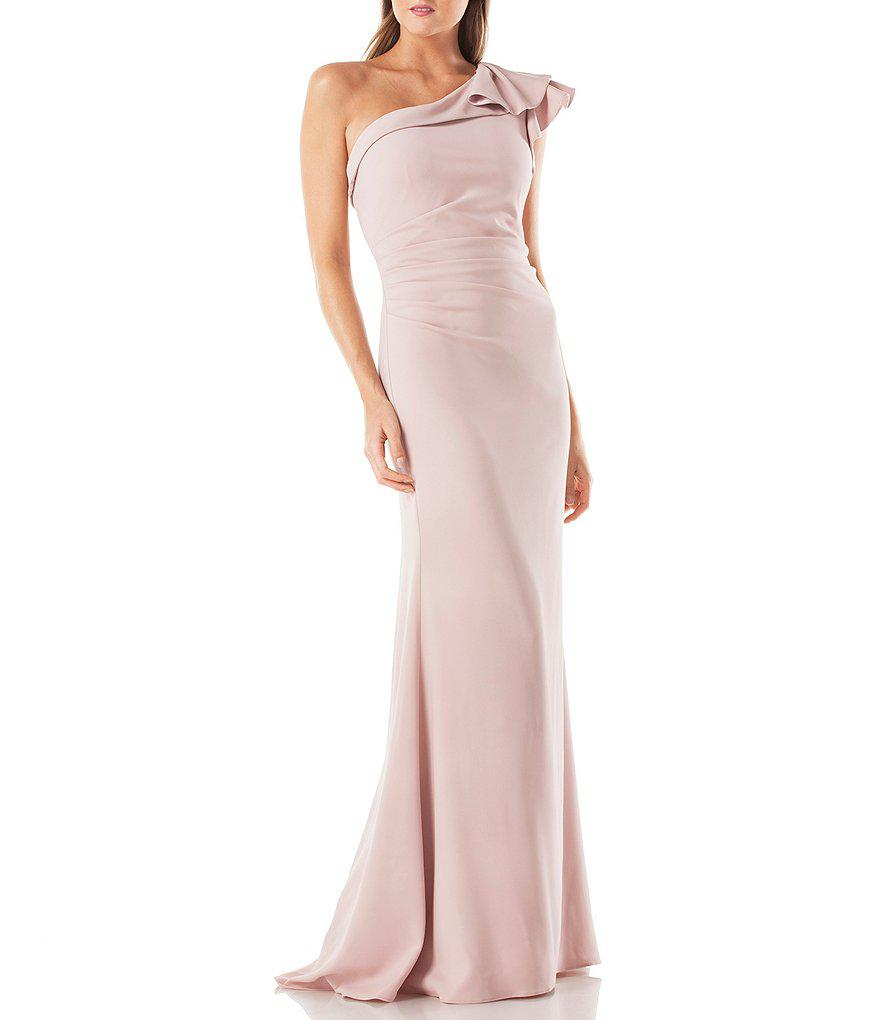 6c11c842c4a Lyst - Carmen Marc Valvo Infusion One Shoulder Cascading Ruffle ...