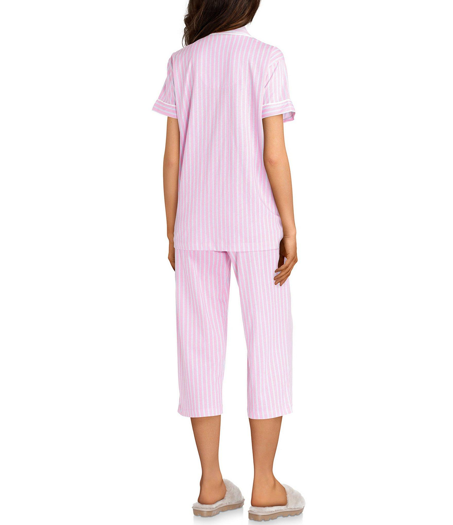 ca734c0af78 Lauren by Ralph Lauren - Pink Striped-printed Knit Capri Pajama Set - Lyst.  View fullscreen