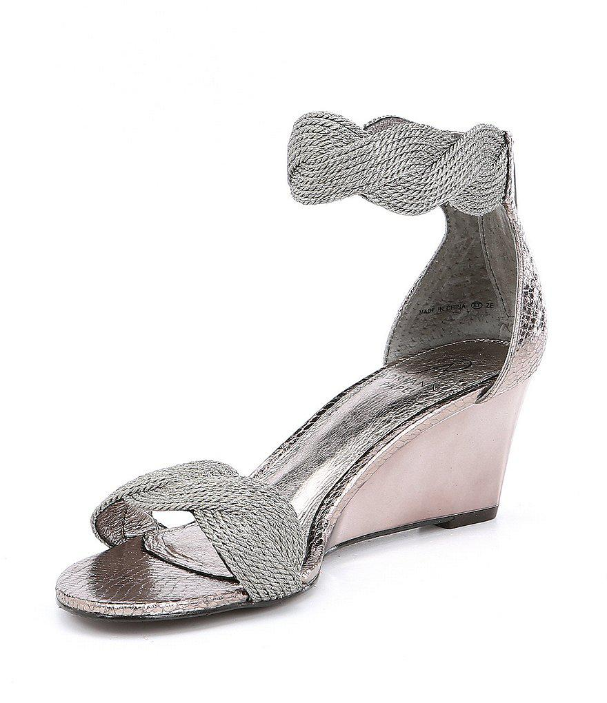 Adrianna Papell Adore Metallic Braided Wedge Dress Sandals H4Mjzrc