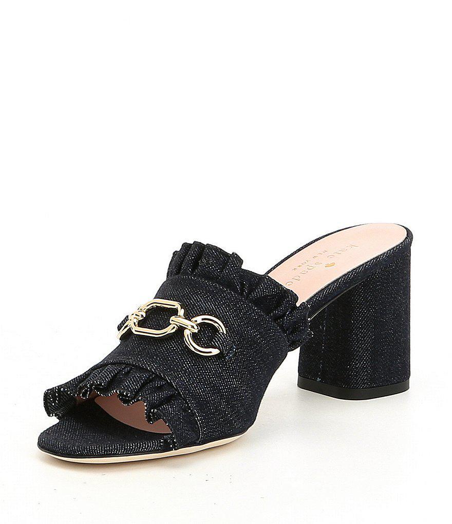 Demmi Denim Chain and Ruffle Detail Block Heel Dress Mules 8YnGGYoIV