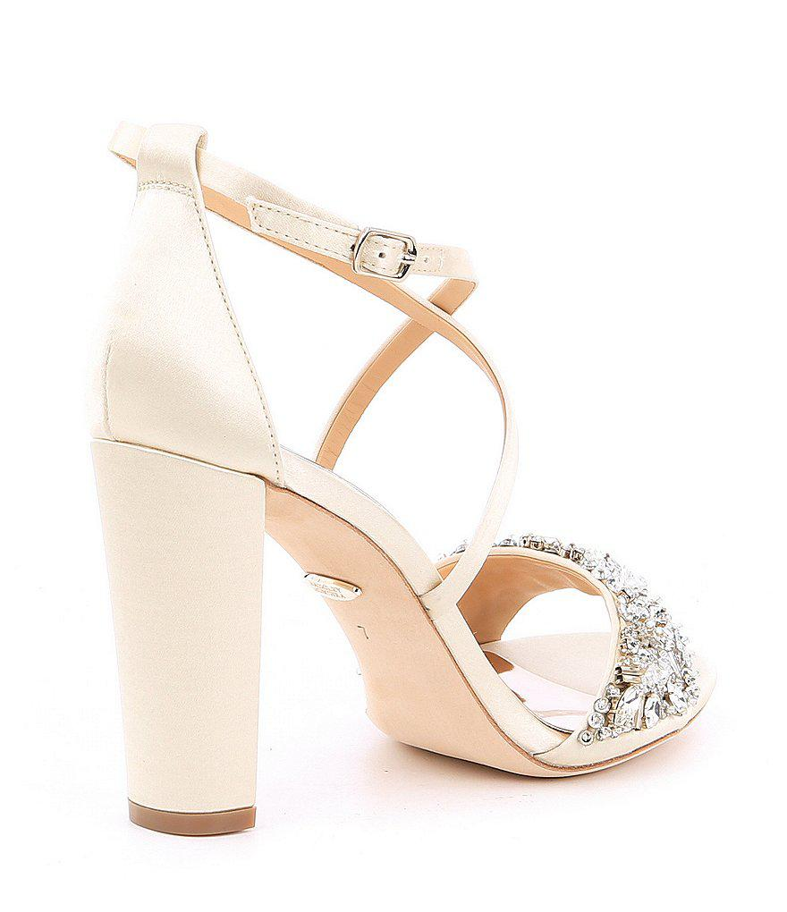 68af5a5a419a Badgley Mischka Sandra Satin Jeweled Strappy Block Heel Dress Sandals  Ast5rLq
