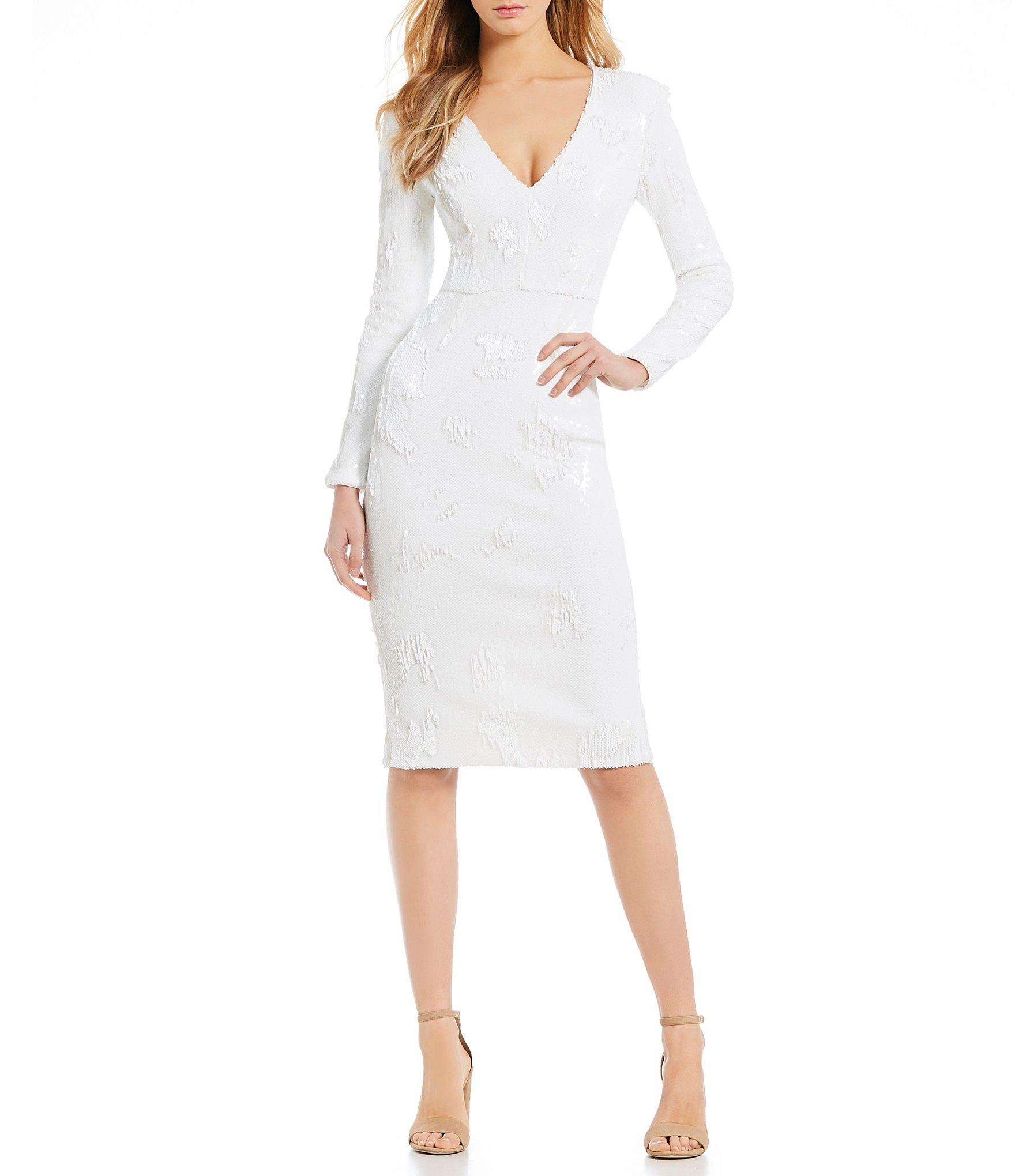 1a0e2723 Dress the Population Elizabeth Sequin Long Sleeve V-neck Midi Length ...