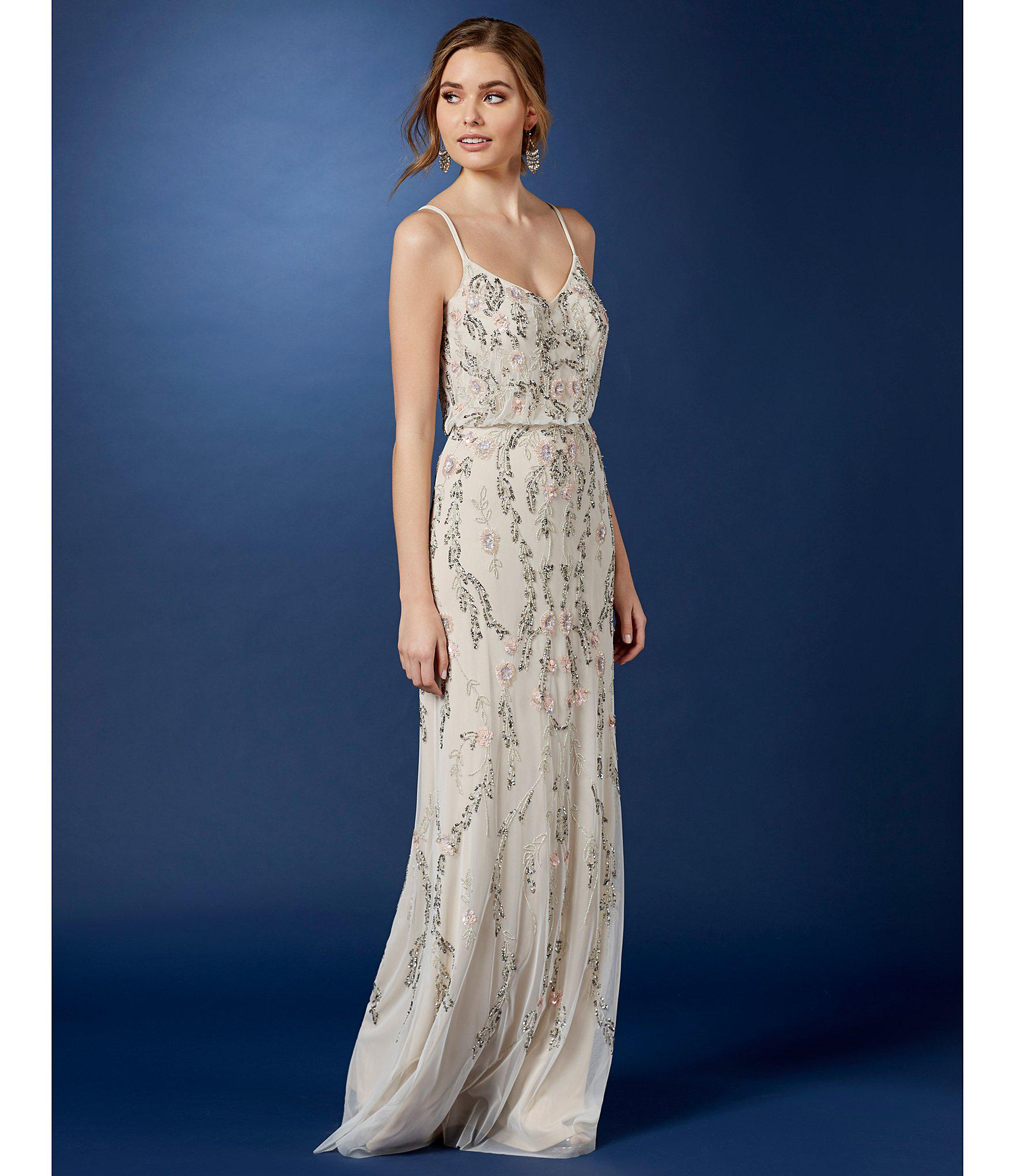 Lyst Adrianna Papell Floral Beaded Blouson Gown In Metallic