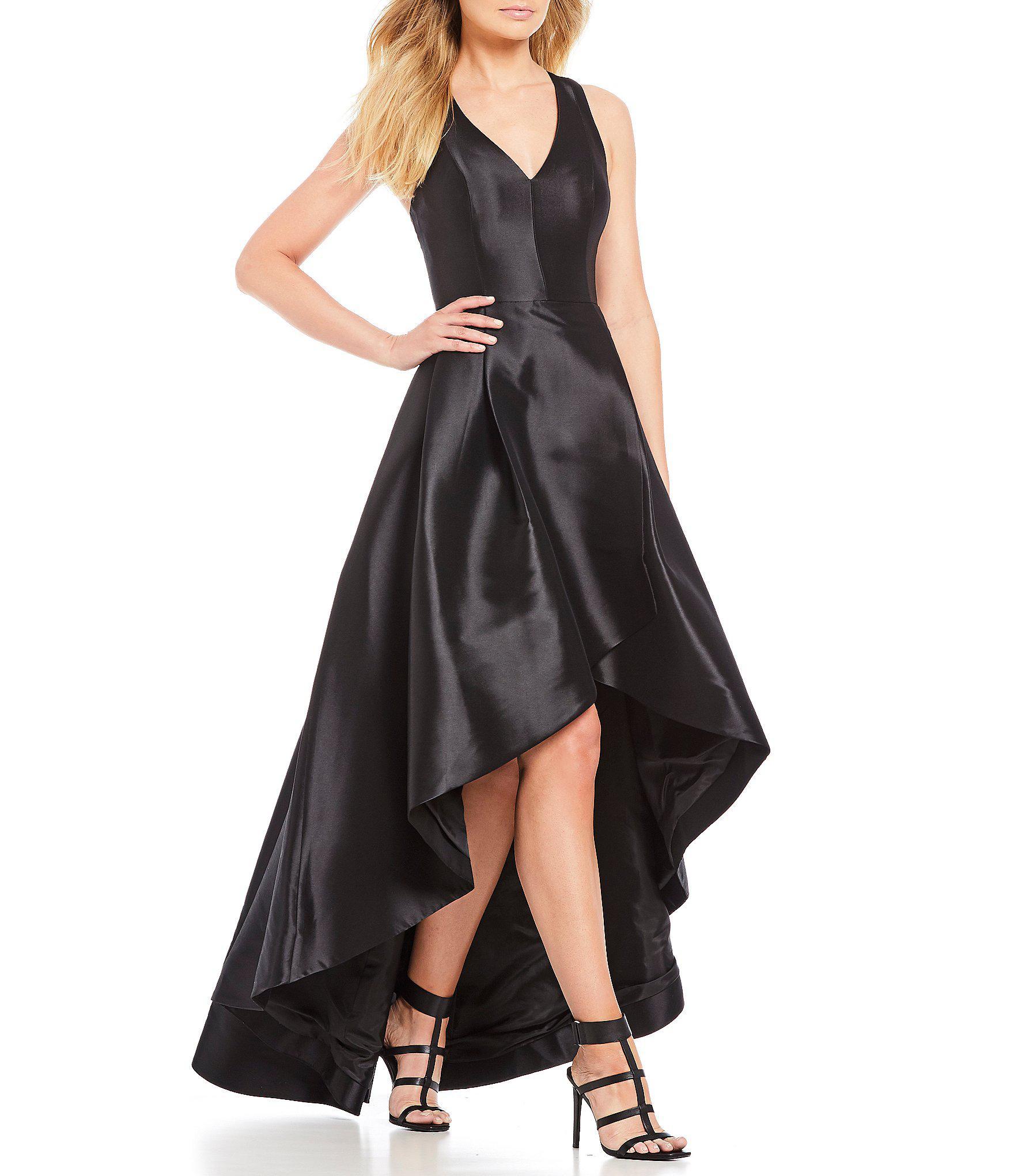 f2ba1faa1eec Calvin Klein Taffeta Tulip Hi-low Dress in Black - Lyst